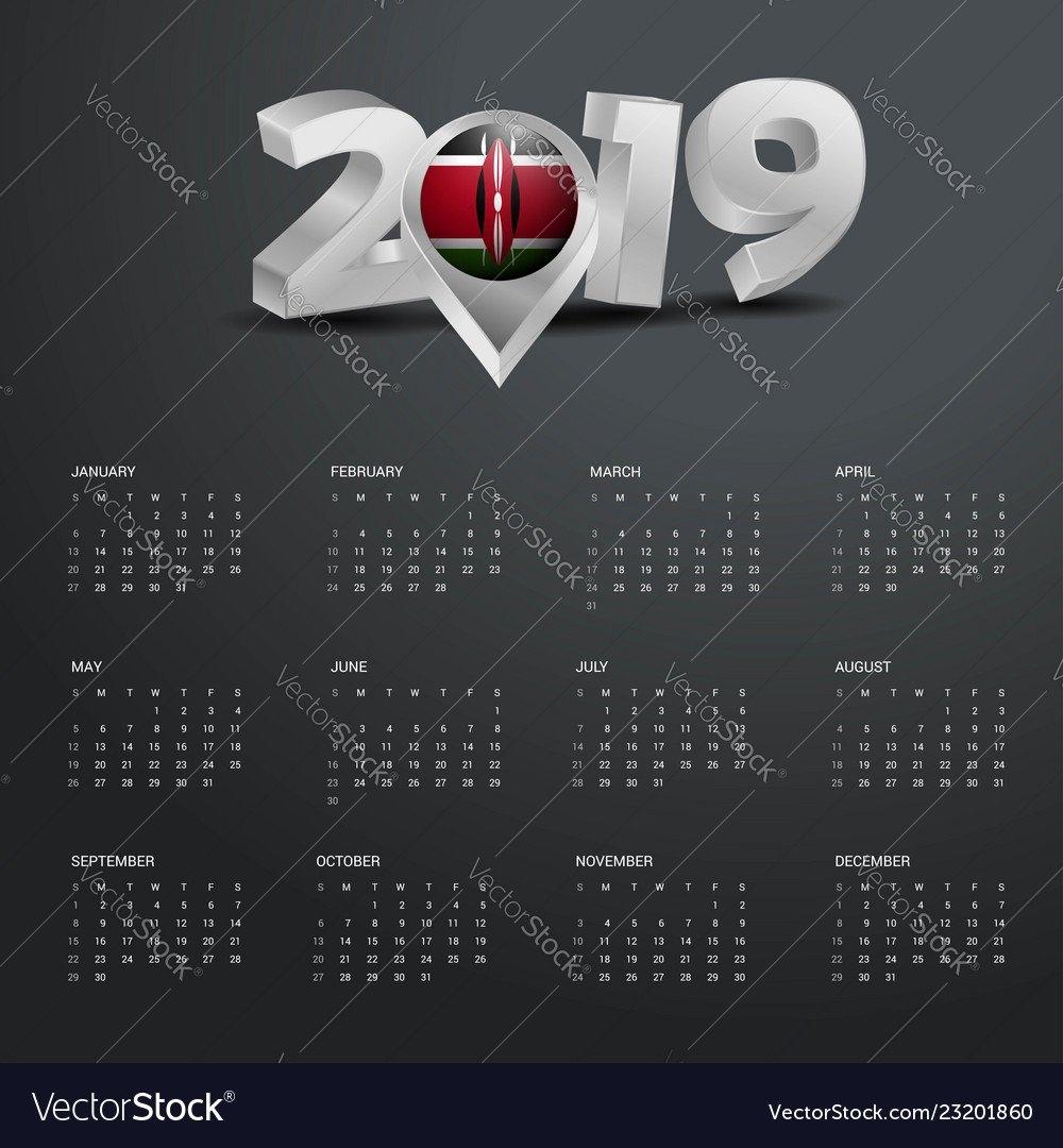 2019 Calendar Template Grey Typography With Kenya Vector Image Calendar 2019 Kenya