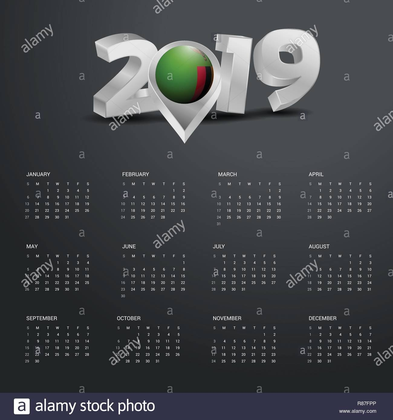 2019 Calendar Template. Grey Typography With Zambia Country Map Calendar 2019 Zambia