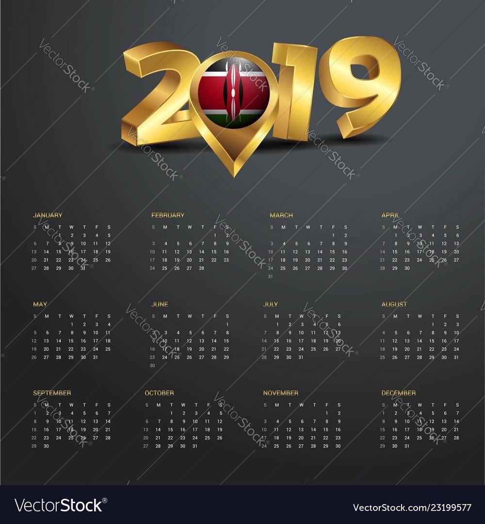 2019 Calendar Template Kenya Country Map Golden Vector Image Calendar 2019 Kenya