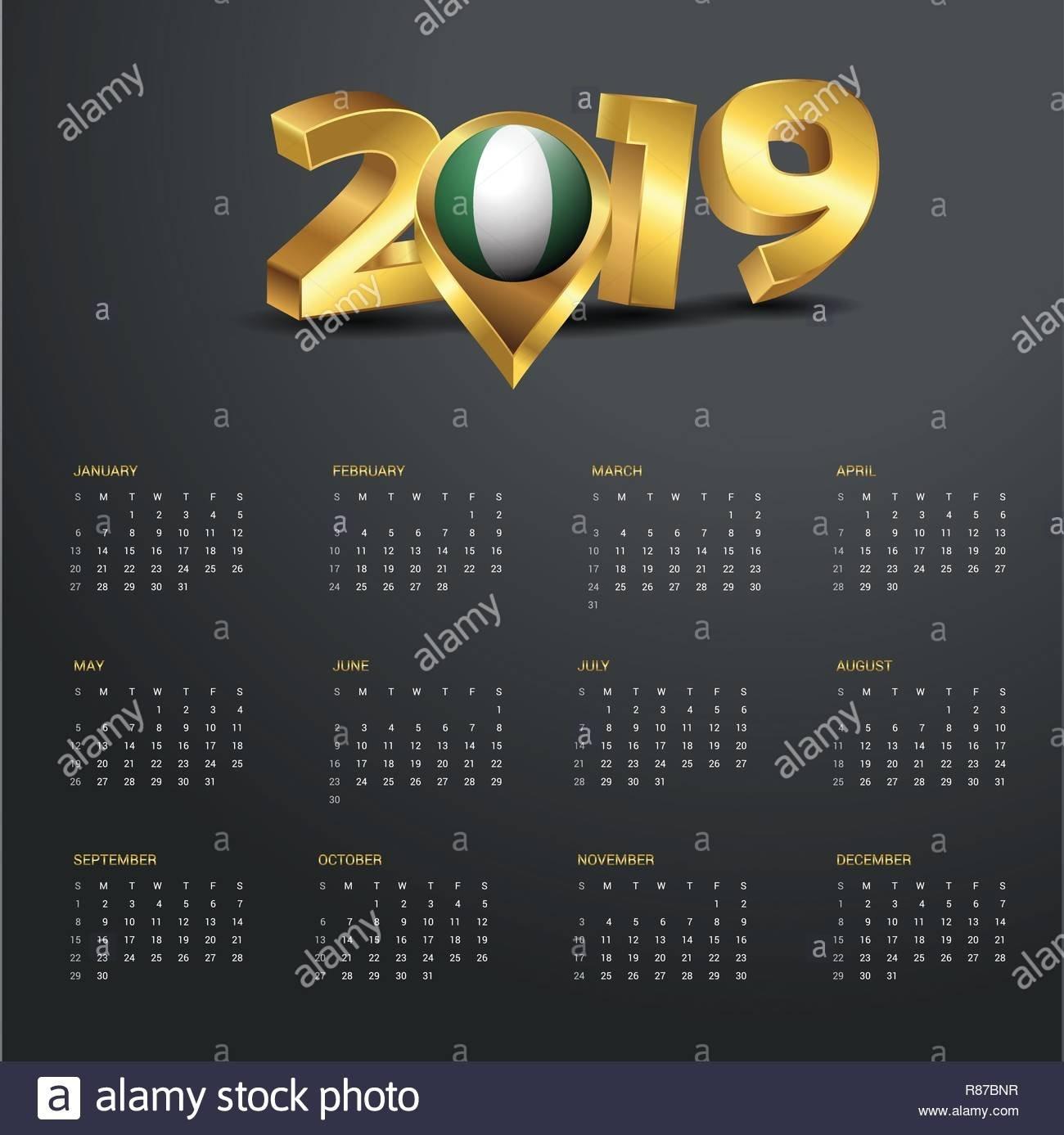 2019 Calendar Template. Nigeria Country Map Golden Typography Header Calendar 2019 Nigeria