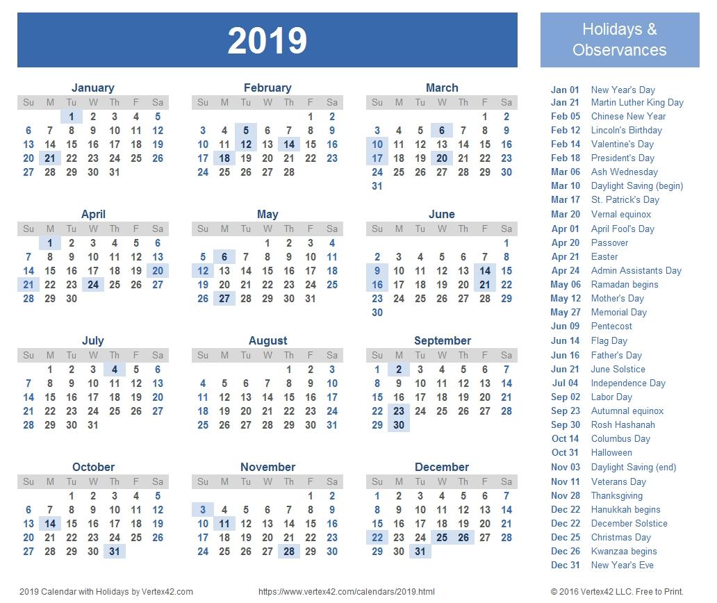 2019 Calendar Templates And Images W 2019 Calendar