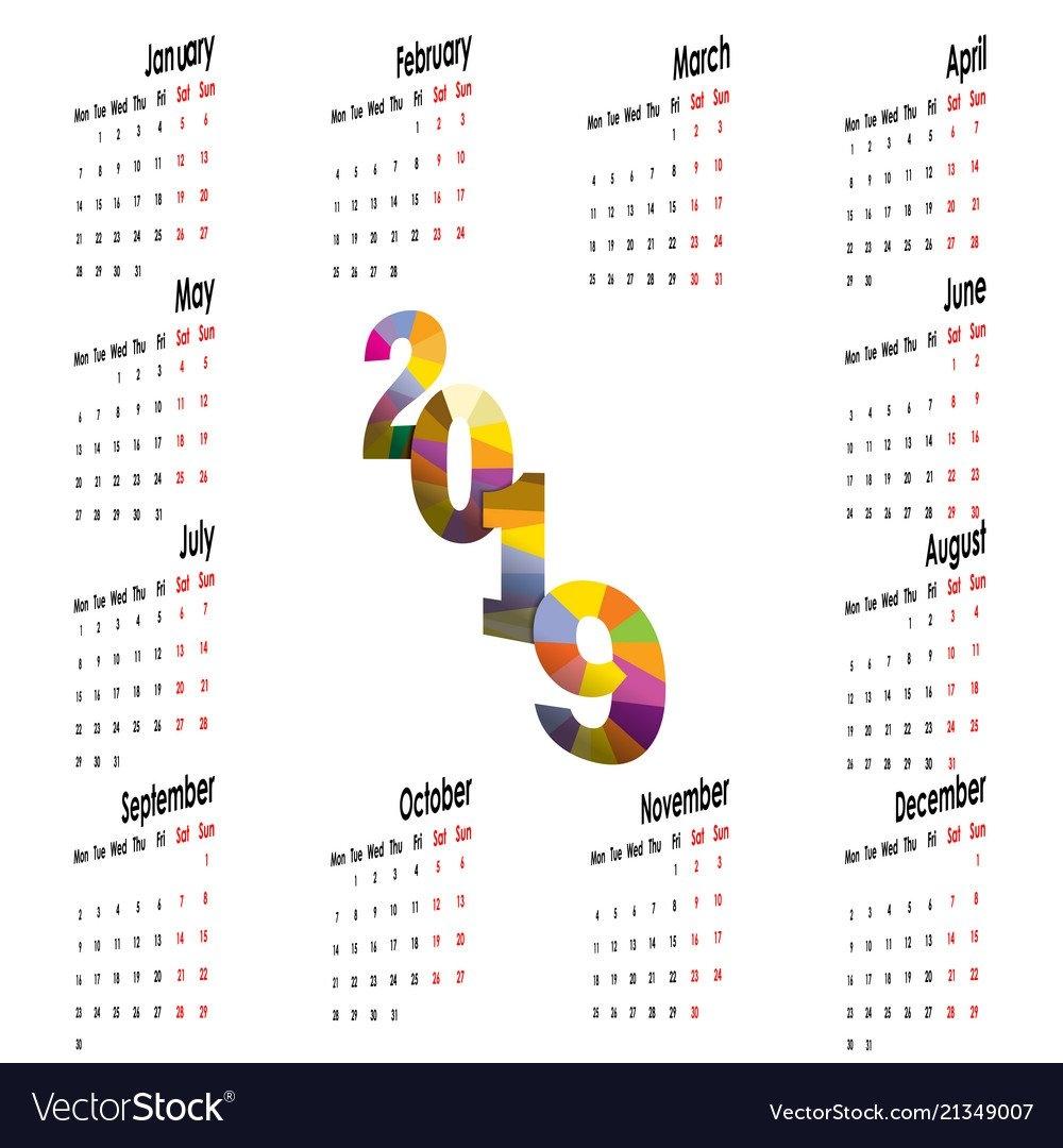 2019 Calendar Templatestarts Mondayyearly Vector Image 007 Calendar 2019
