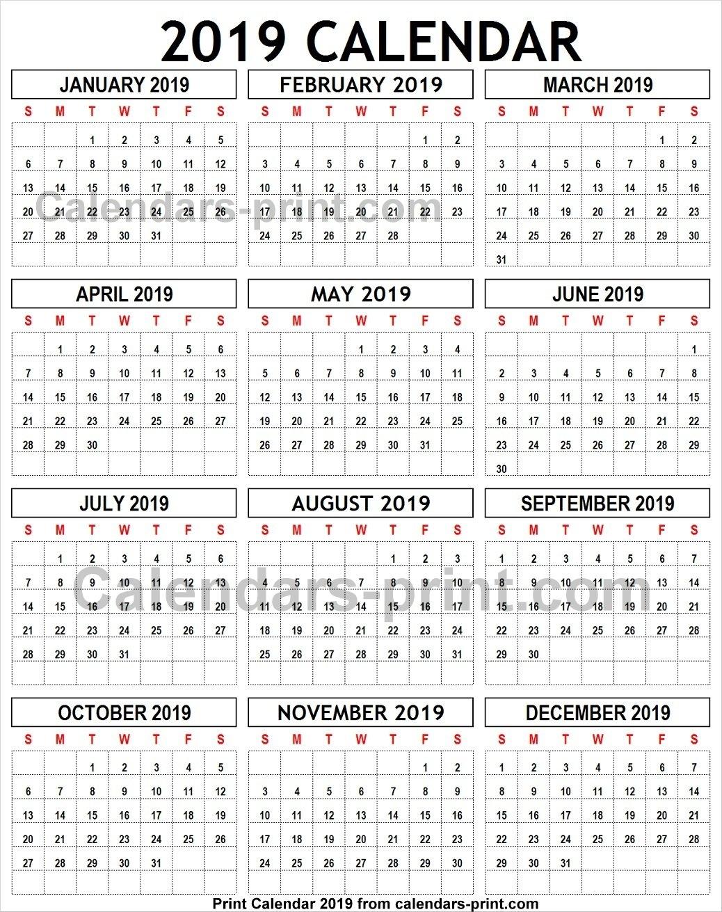 2019 Calendar To Print Template With Notes | Holidays 2019 Calendar 8 1/2 X 11