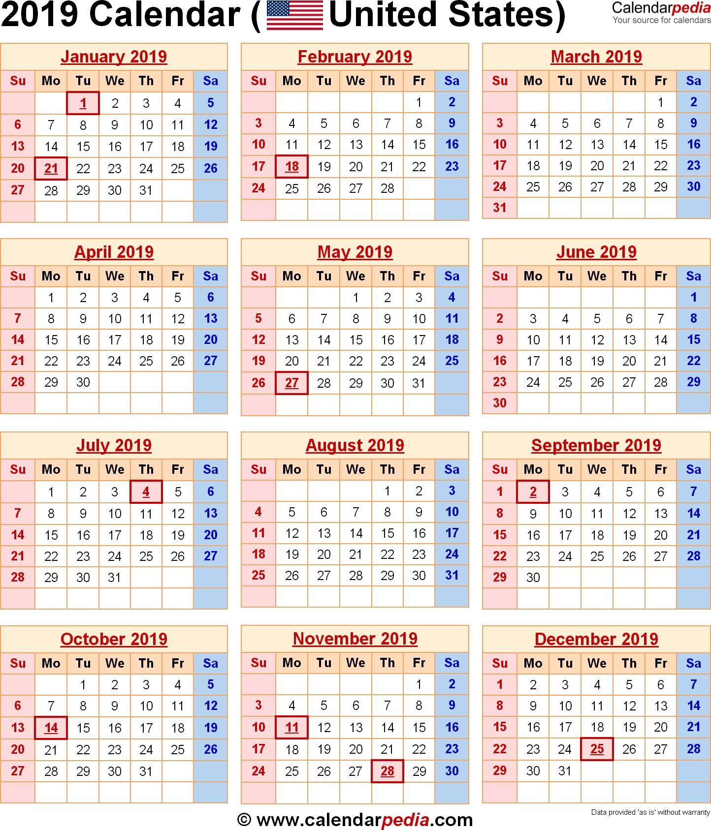 2019 Calendar United States | Us Federal Holidays | 2019 Calendar Us Calendar 2019 Usa
