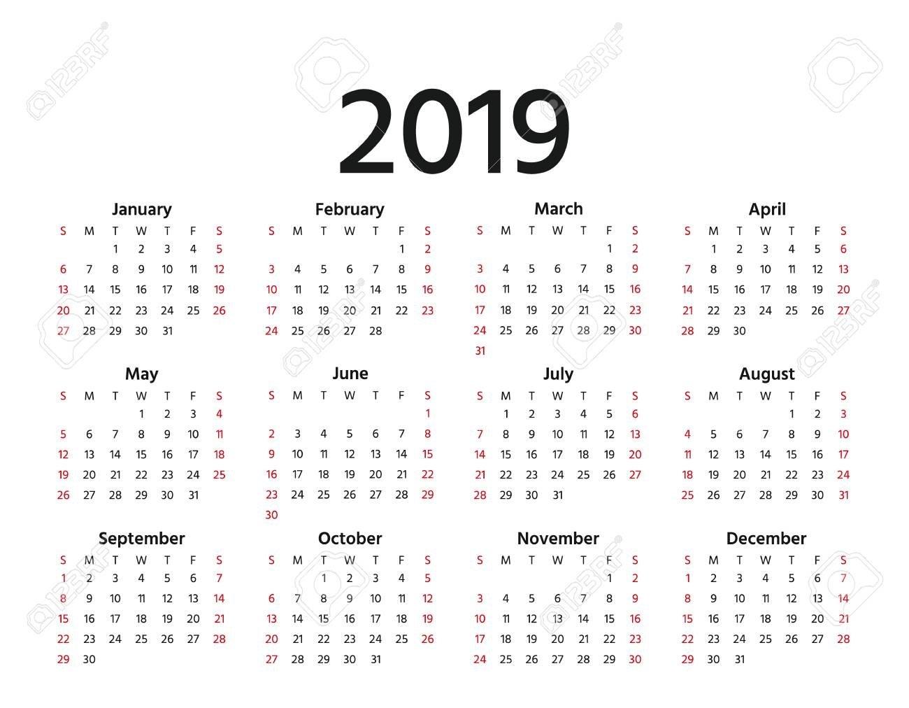 2019 Calendar. Vector. Week Starts Sunday In Minimal Simple Style Calendar 2019 In Weeks