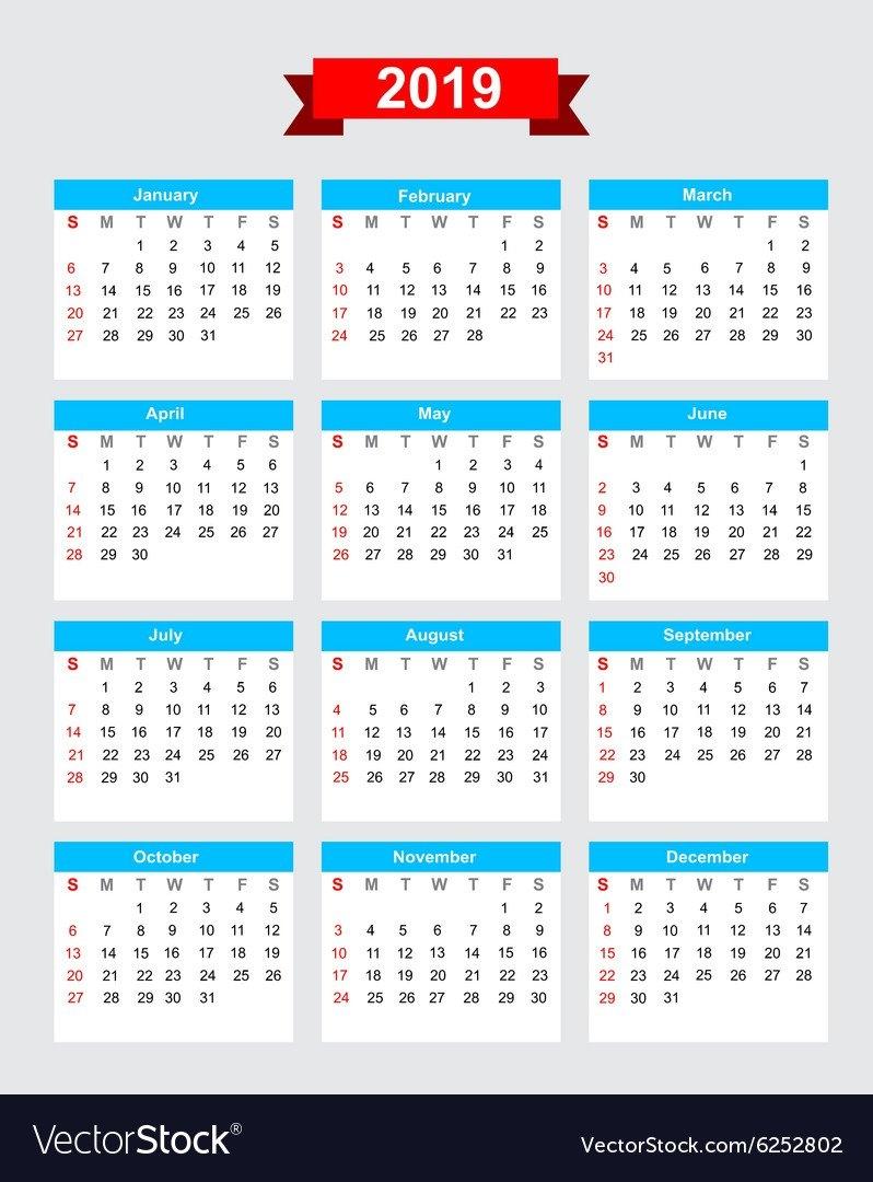 2019 Calendar Week Start Sunday Royalty Free Vector Image Week 1 Calendar 2019