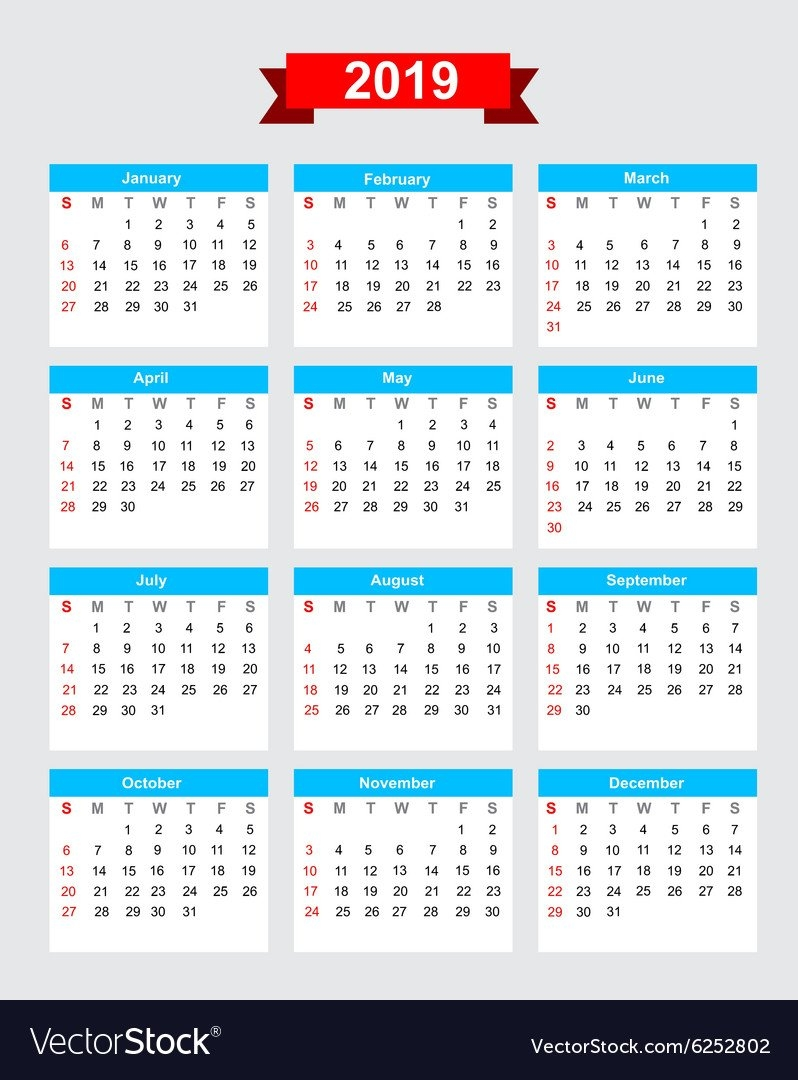 2019 Calendar Week Start Sunday Royalty Free Vector Image Week 7 Calendar 2019