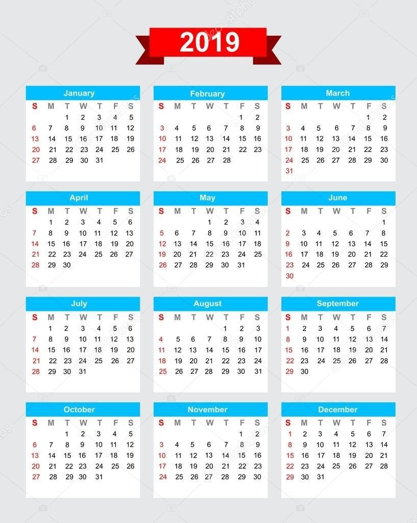 2019 Calendar Week Start Sunday — Stock Vector © Thekaikoroez #86621786 Calendar 2019 Mexico