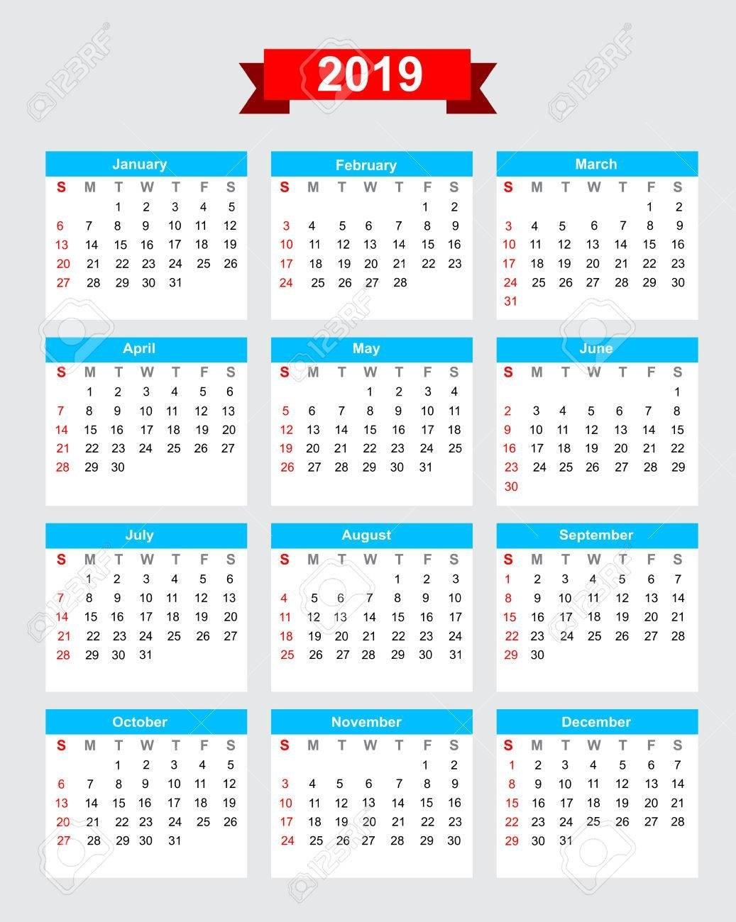 2019 Calendar Week Start Sunday Vector Royalty Free Cliparts Calendar 2019 In Weeks