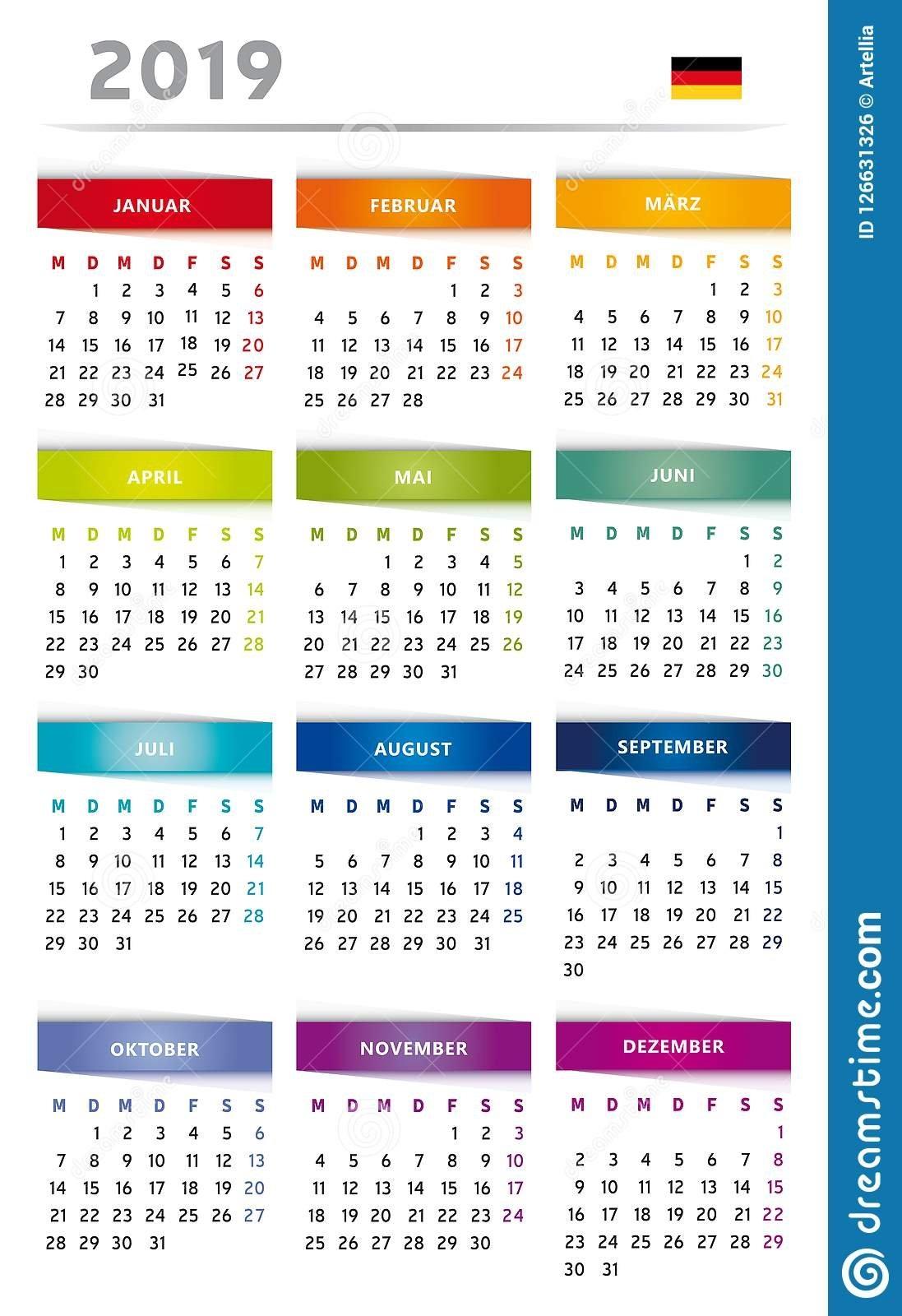 2019 Calendar With Boxes In Rainbow Colors 4 Trimesters – 3 Columns 4 Column Calendar 2019