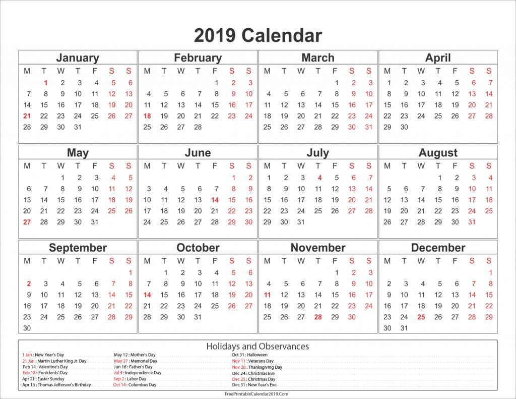 2019 Calendar With Holidays – Us, Uk, Australia, Canada – 2018 Calendar Calendar 2019 Showing Holidays