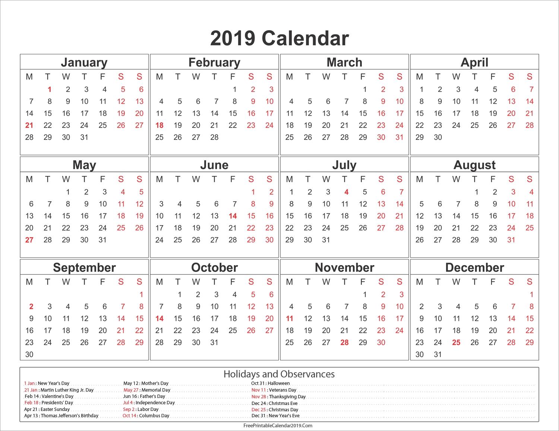 2019 Calendar With Holidays – Us, Uk, Australia, Canada – 2018 Calendar May 1 2019 Calendar