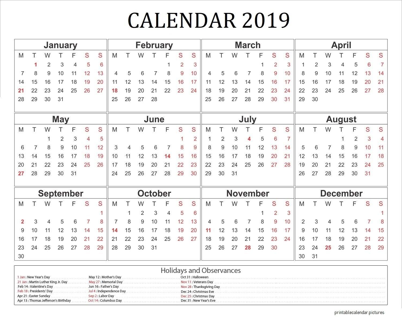 2019 Calendar With Holidays Usa | 2019 Calendar Holidays | Pinterest Calendar 2019 Usa