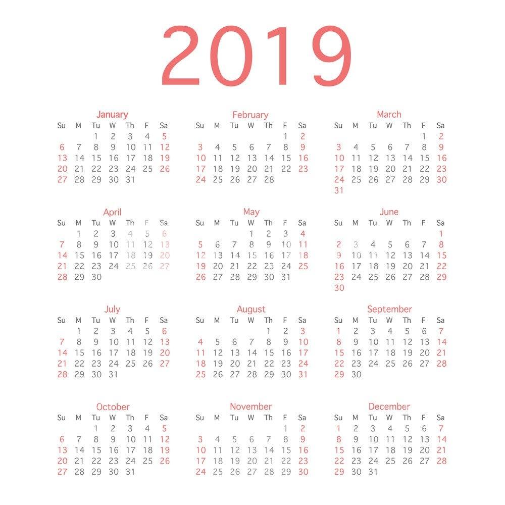 2019 Calendar Year, Simple Calendar Layout For 2019 Year. Vector Calendar 2019 Bu