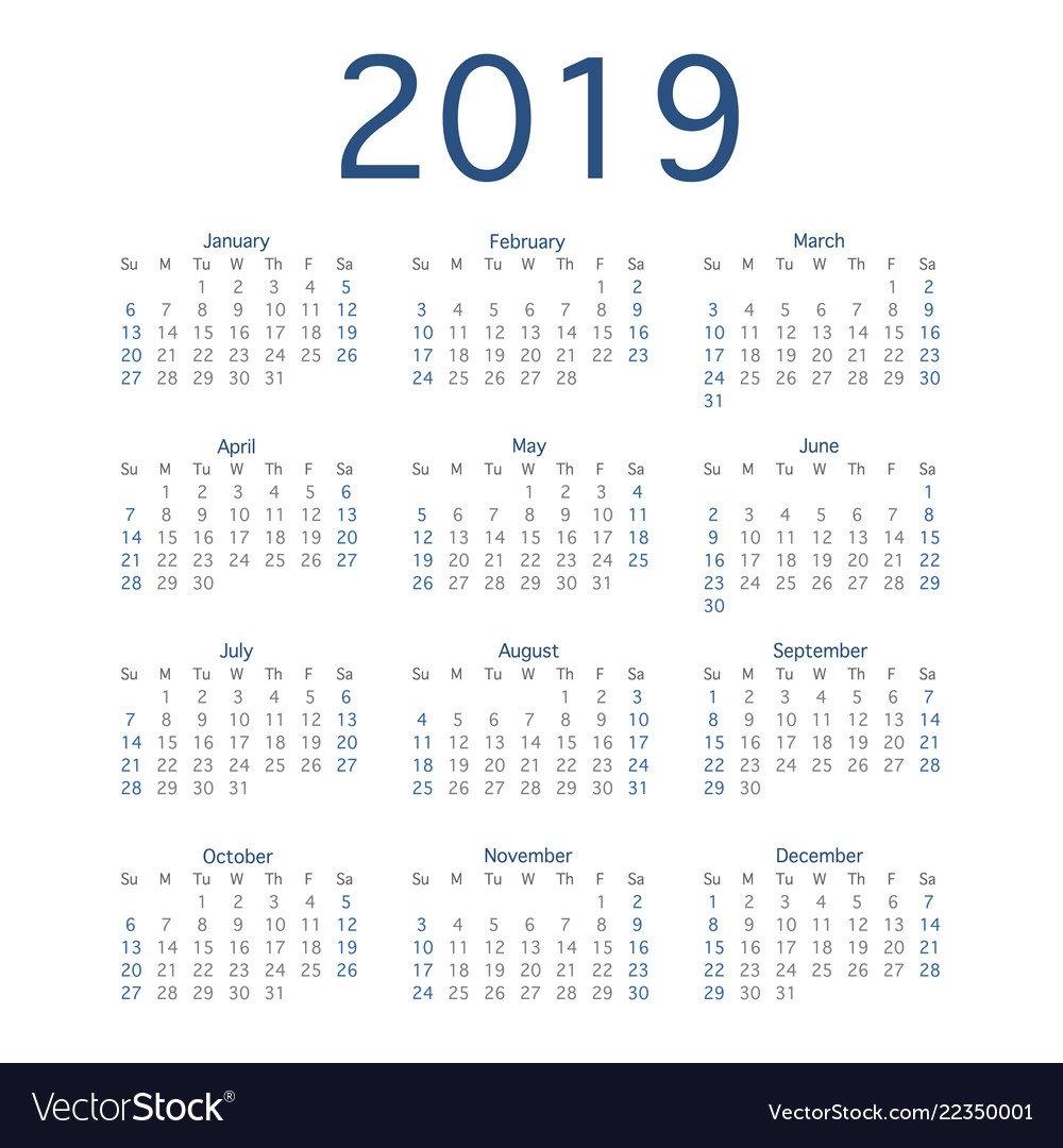 2019 Calendar Year Simple Calendar Layout For Vector Image Calendar 2019 Year