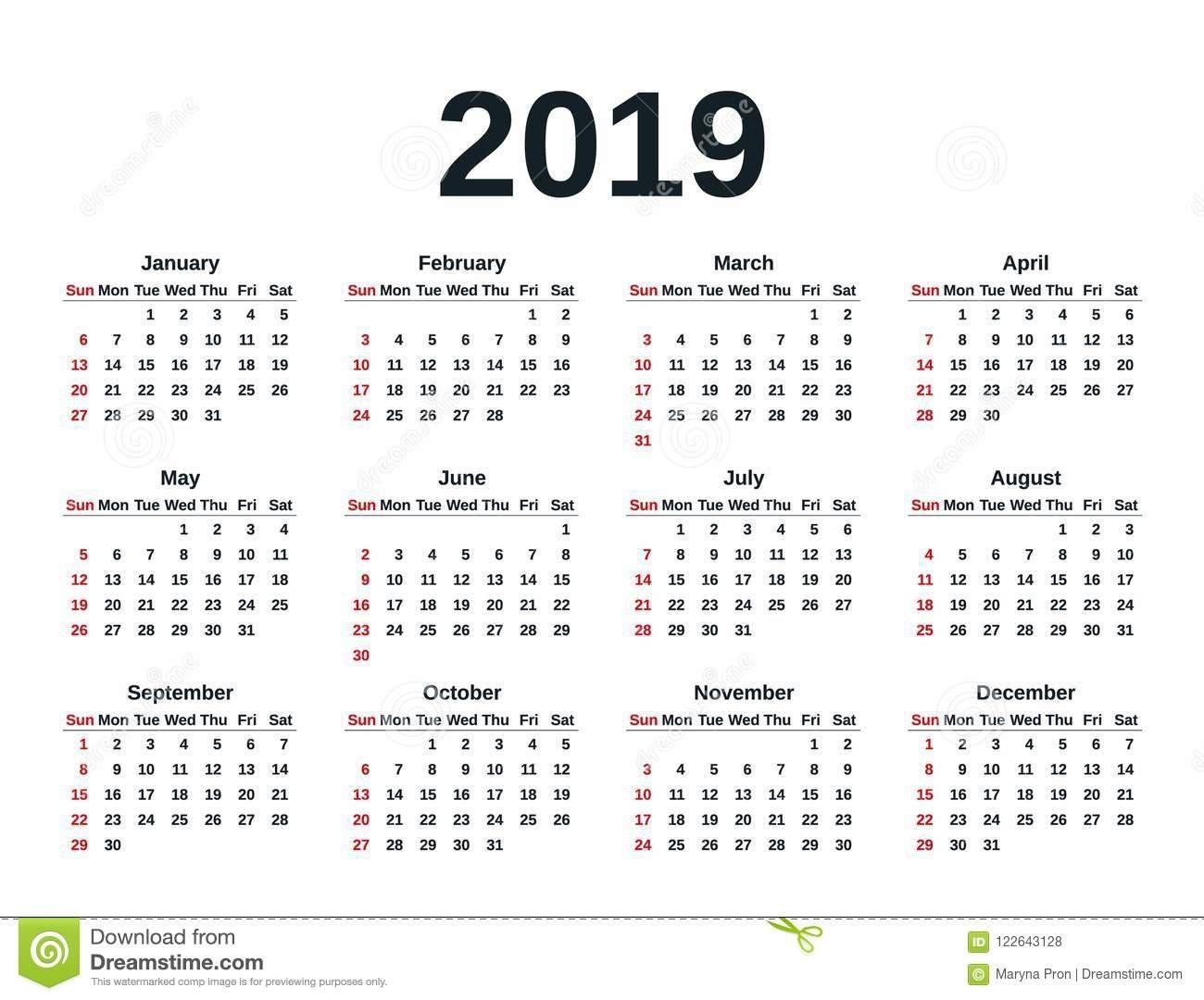 2019 Calendar Year. Vector Illustration. Template Planner. Stock Calendar Week 15 2019