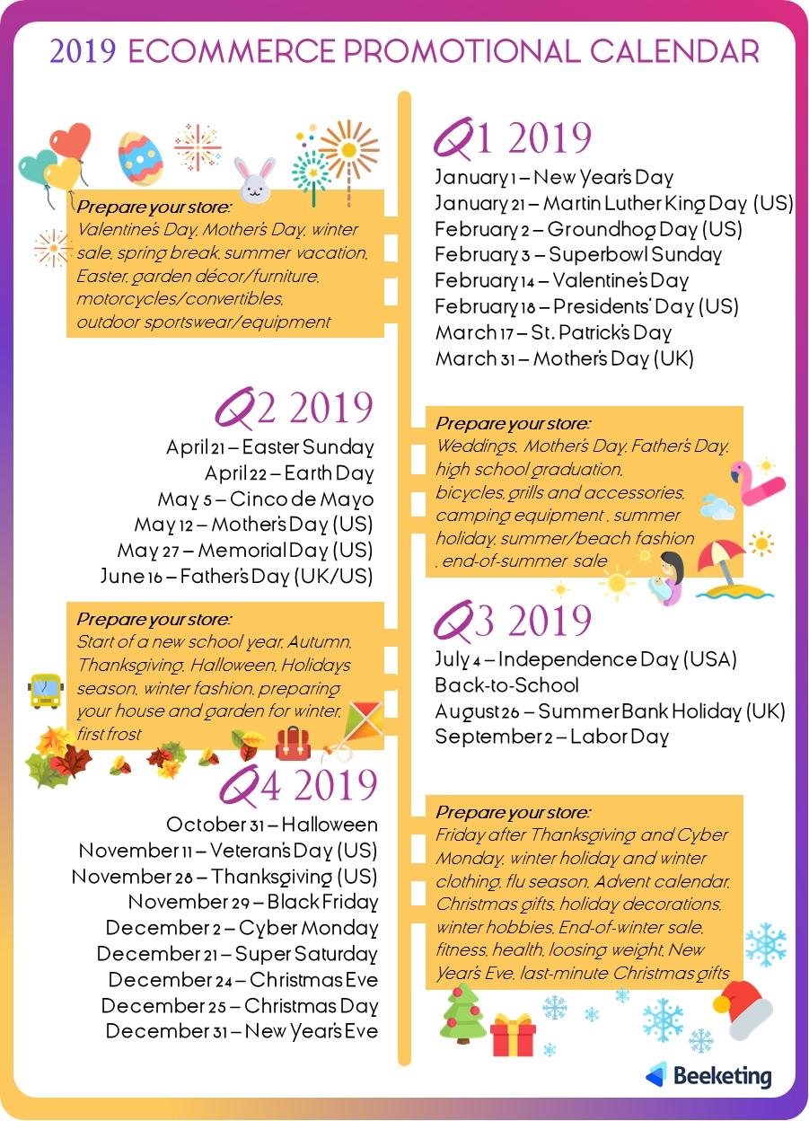 2019 Ecommerce Promotional Calendar – Beeketing Blog Calendar 2019 For Sale