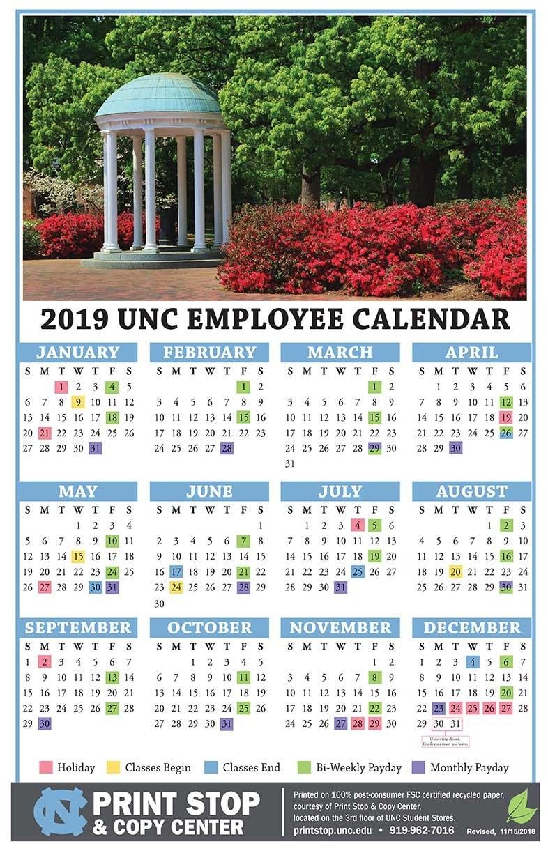2019 Employee Calendar 11 X 17 – Campus Enterprises Calendar 2019 11X17