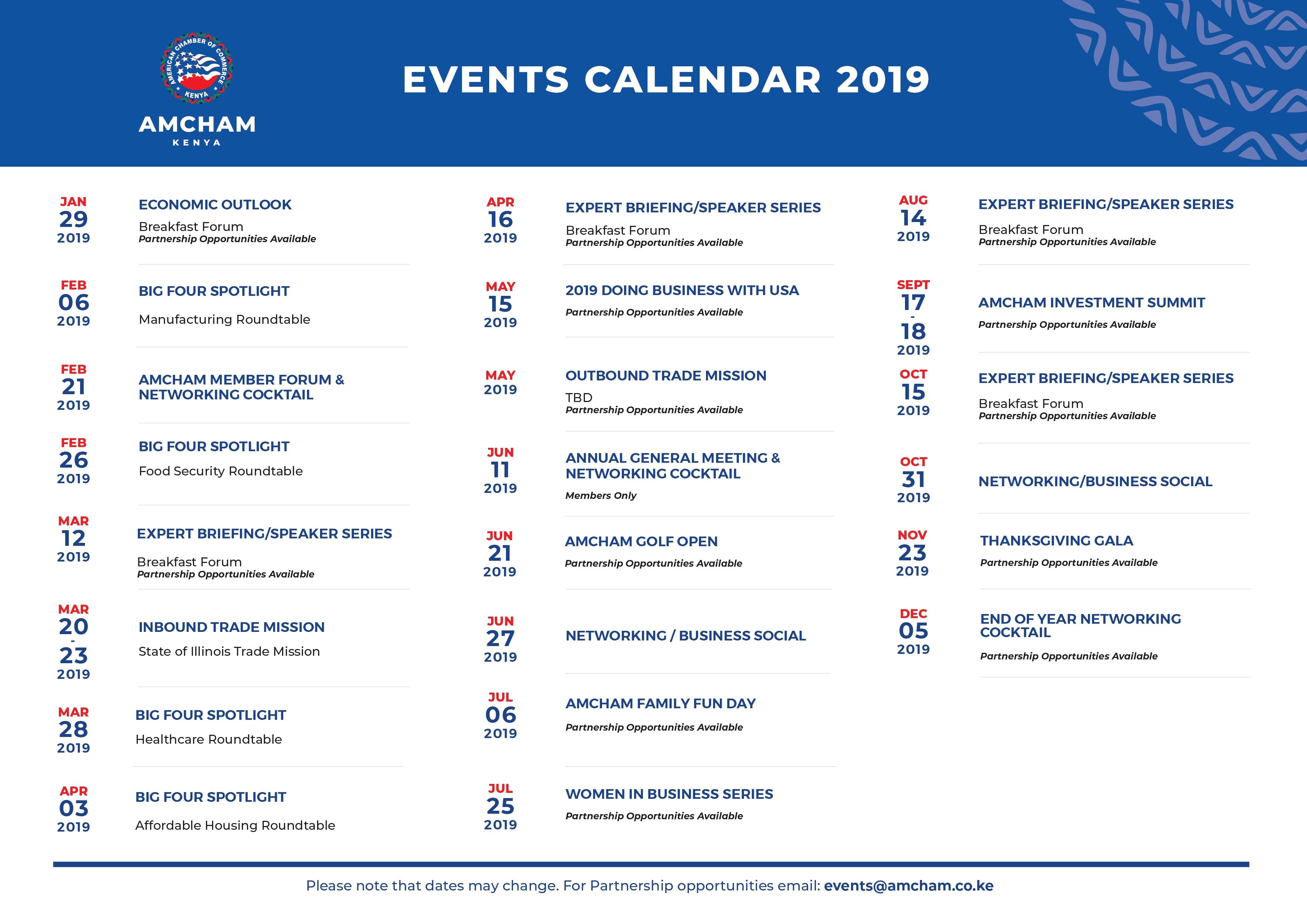 2019 Events Calendar   American Chamber Of Commerce – Kenya Calendar 2019 Kenya
