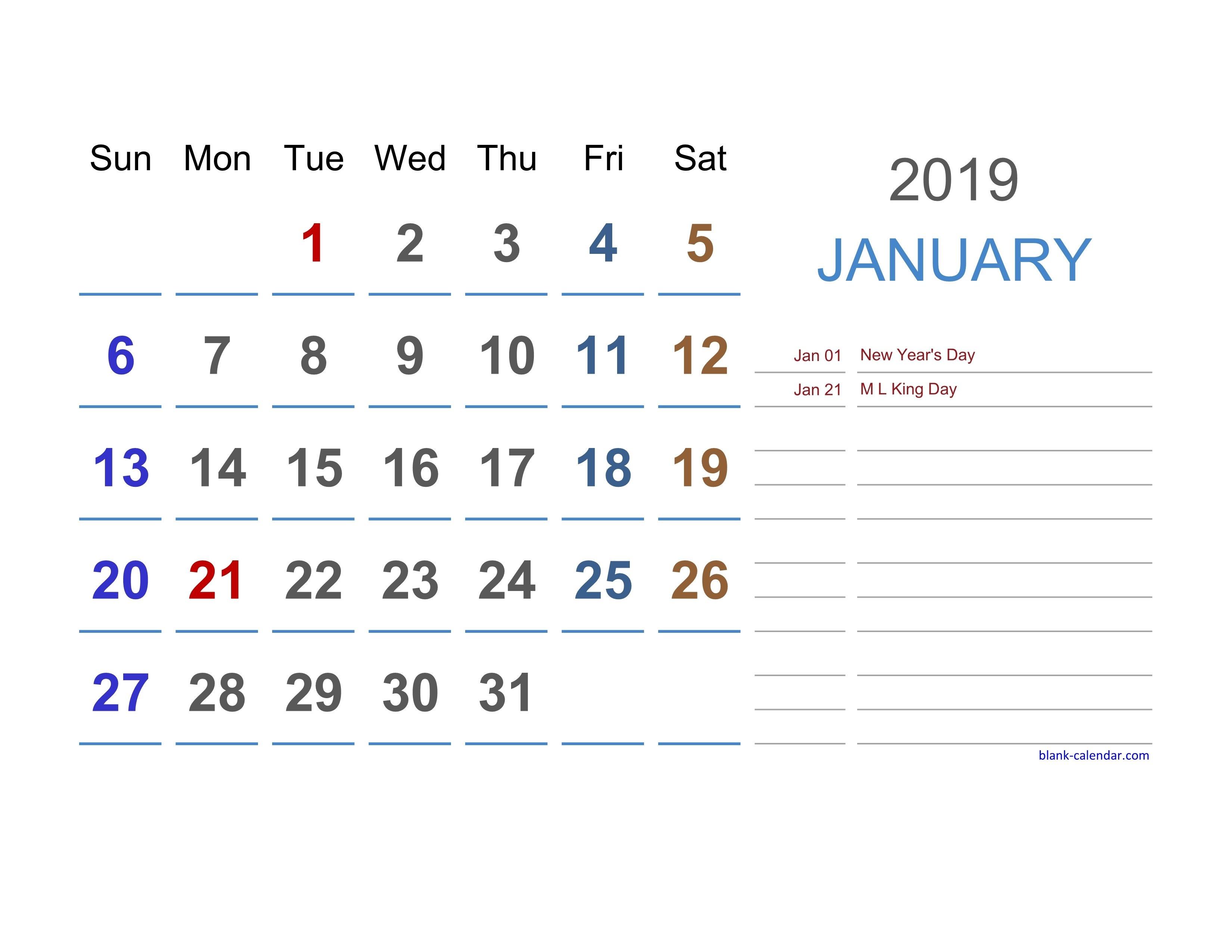 2019 Excel Calendar | Free Download Excel Calendar Templates Calendar 2019 For Excel