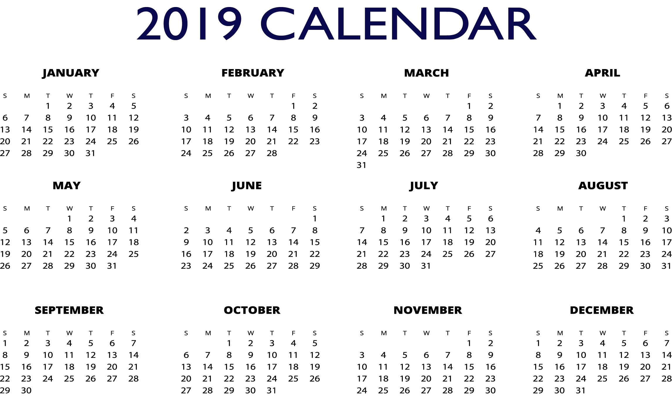 2019 Excel One Page Calendar | 2019 Calendars | Pinterest | Calendar Calendar 2019 Excel
