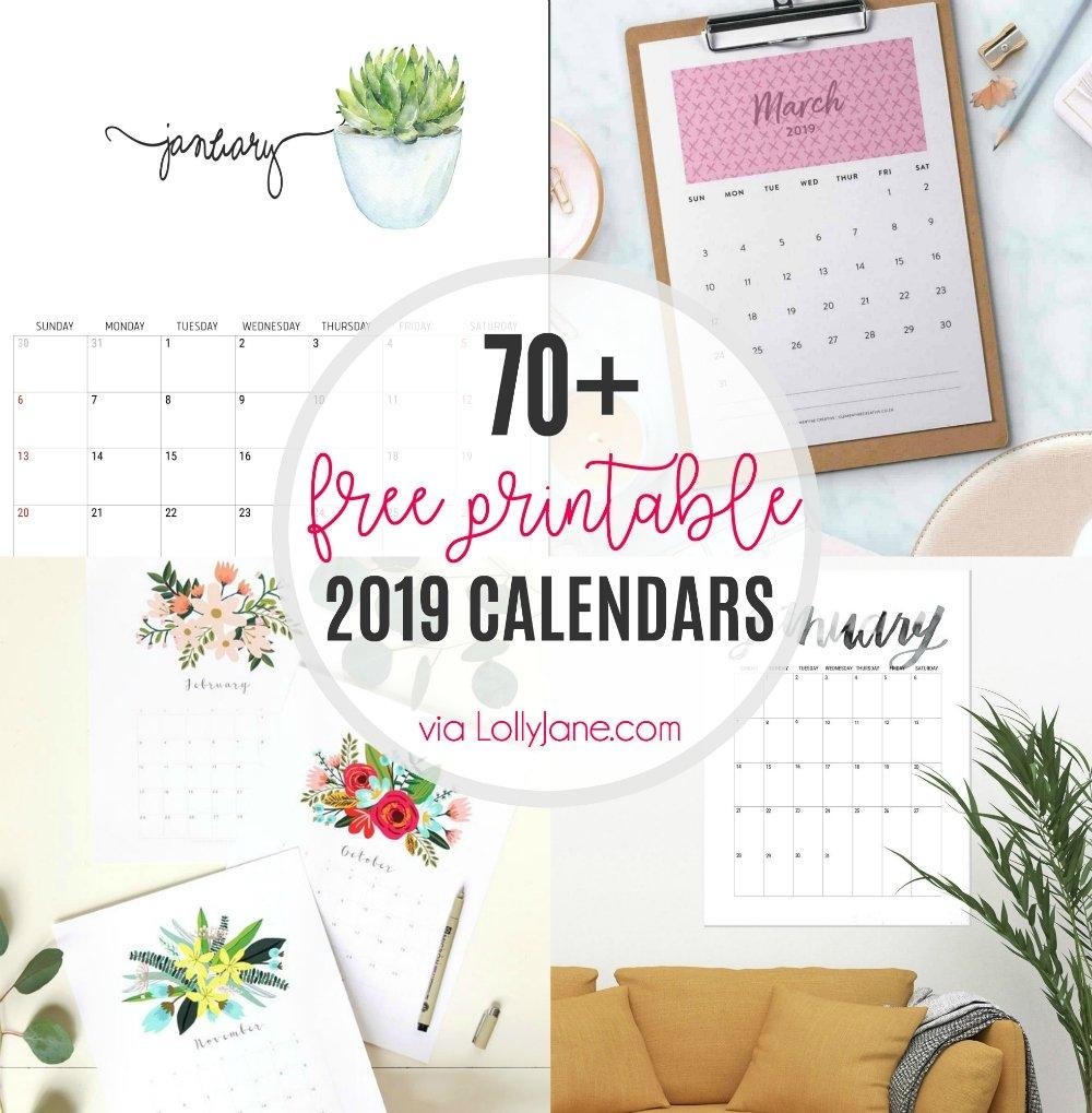 2019 Free Printable Calendars – Lolly Jane U Of H Calendar 2019