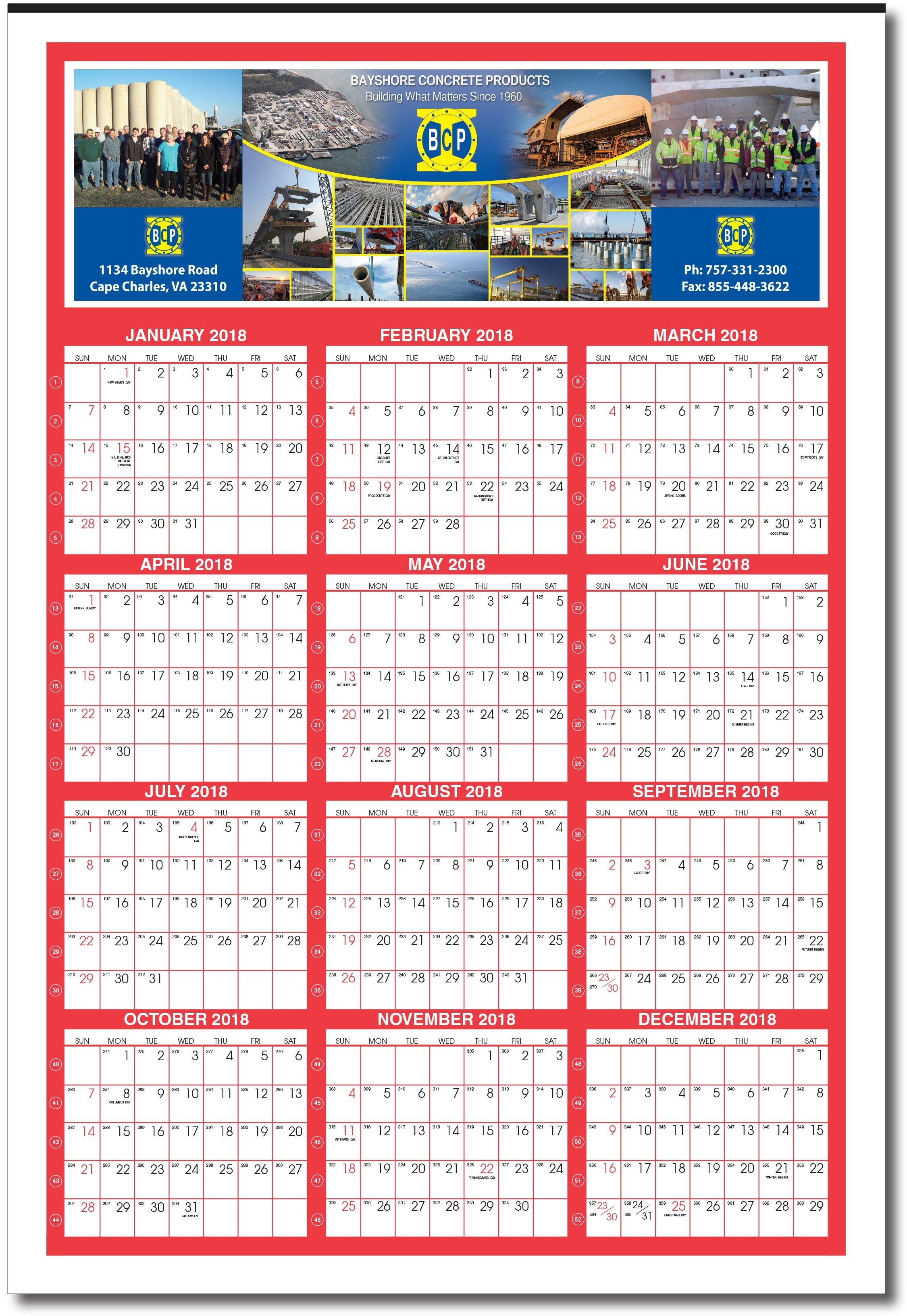 2019 Giant Custom Year At Glance Calendar (With Week Numbers Calendar 2019 Custom