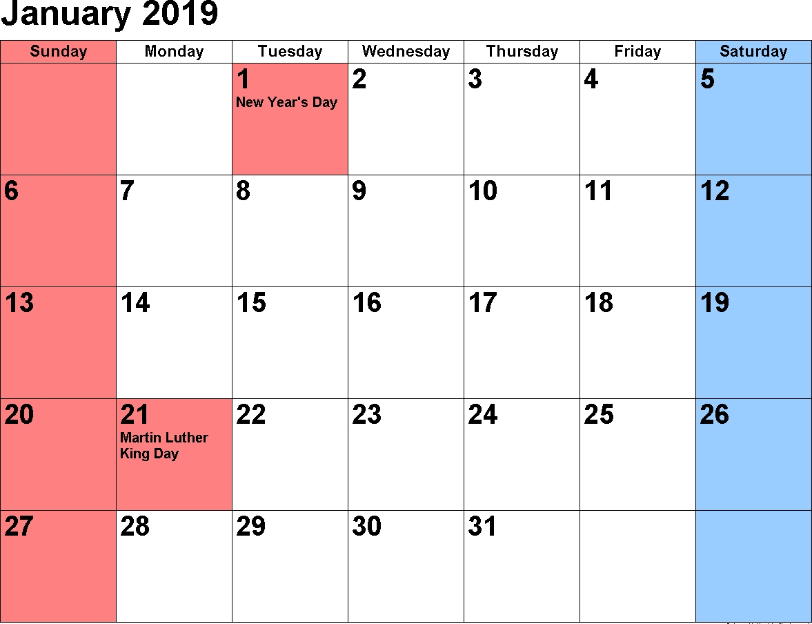 2019 January Calendar Printable Free Download | January 2019 Calendar 2019 January