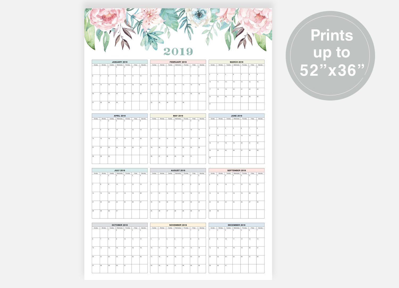 2019 Large Wall Calendar 2019 Calendar At A Glance   Etsy Calendar 2019 Digital