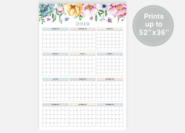 2019 Large Wall Calendar 2019 Calendar Floral Calendar   Etsy Calendar 2019 Digital