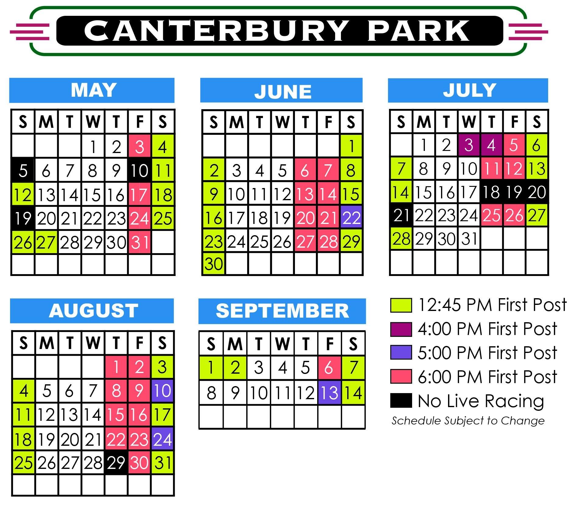 2019 Live Racing Season   Promotions   Canterbury Park 445 Calendar 2019