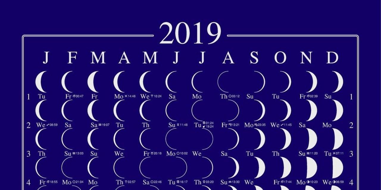 2019 Lunar Calendar Moon Calendar Llun Calendar Moonphase Calendar Lunar Calendar 2019 Zodiac