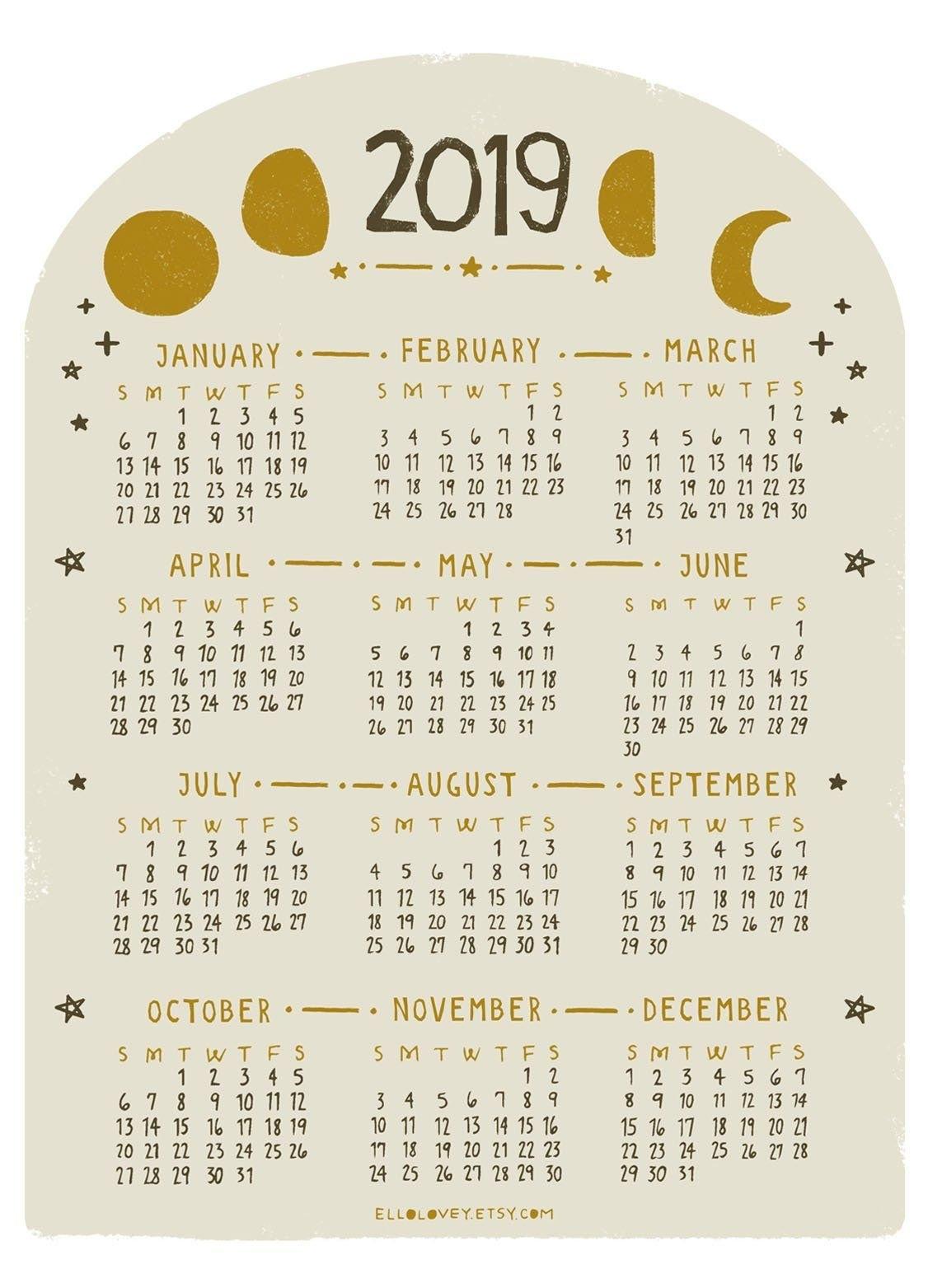 2019 Mini Moon Calendar | Etsy | Calendar | Calendar, Moon Calendar Calendar 2019 Etsy