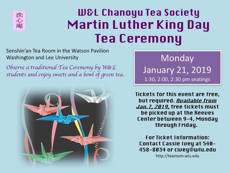 2019 Mlk Tea Ceremony Sponsoredw&l Chanoyu Tea Society W&l Calendar 2019