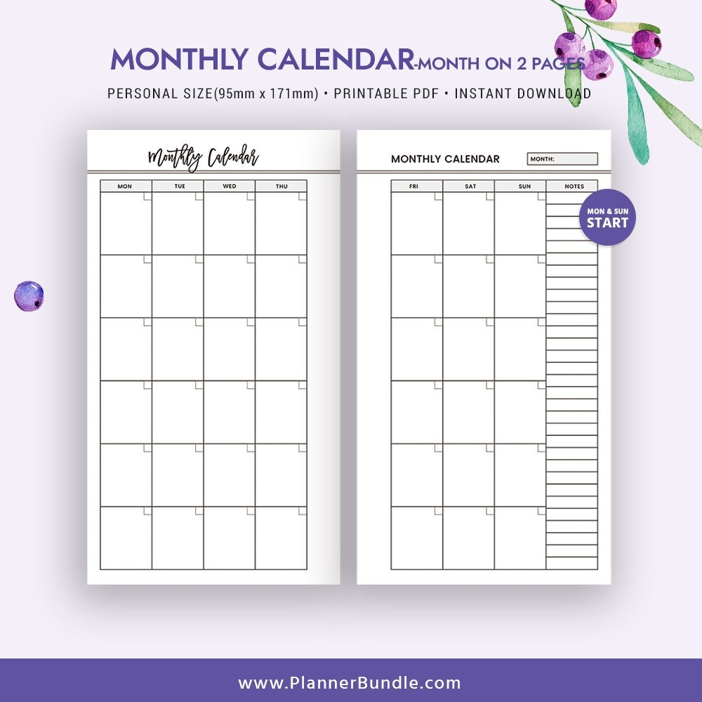 2019 Monthly Calendar, Month On 2 Pages, 2019 Printable Page 2 Page Monthly Calendar 2019 Printable