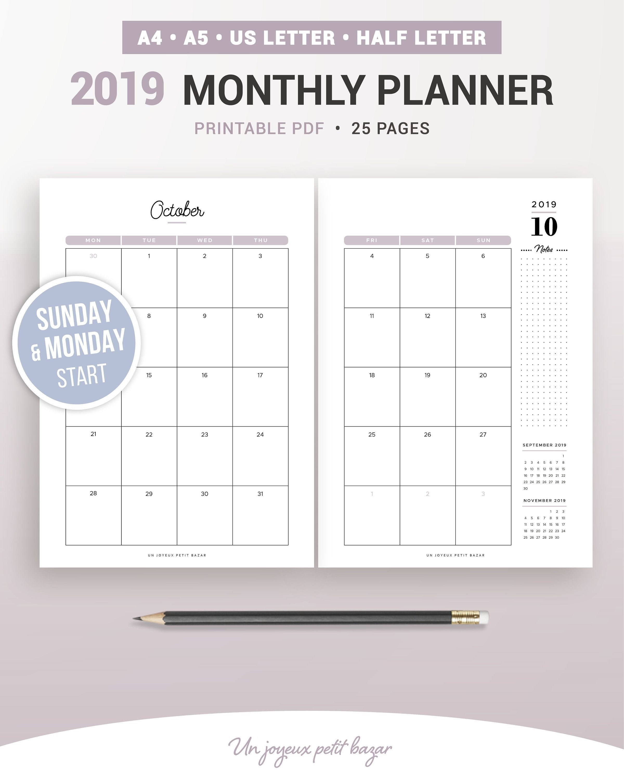 2019 Monthly Planner, 2019 Monthly Calendar, Printable Planner 2 Page Monthly Calendar 2019 Printable