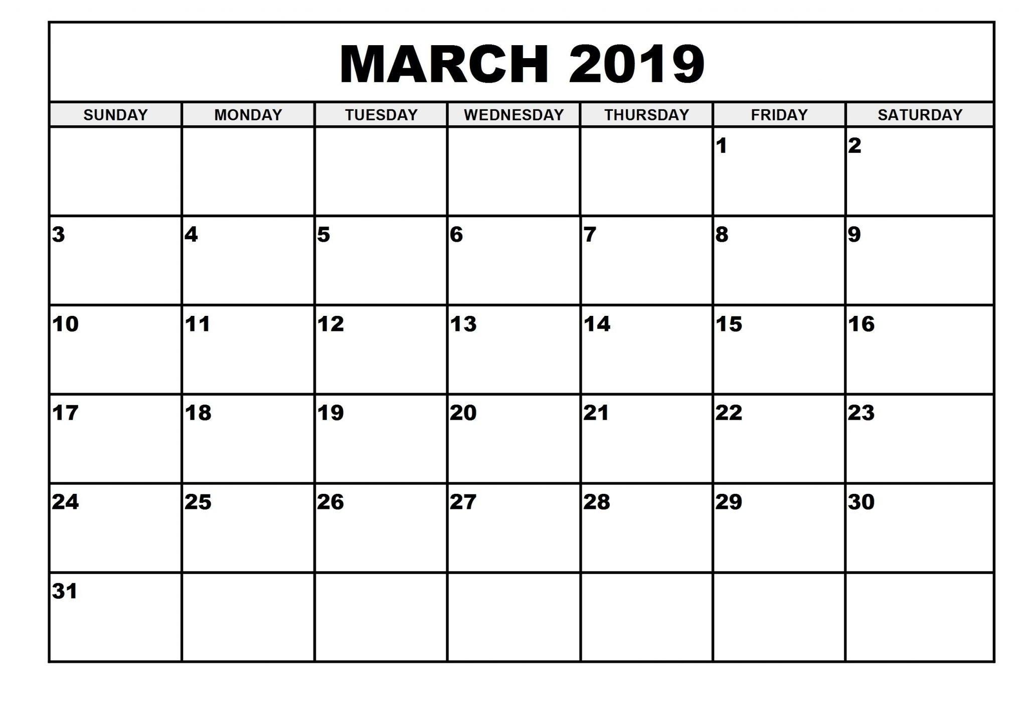 2019 Monthly Printable March 2019 Calendar – Printable Calendar 2019 March 1 2019 Calendar