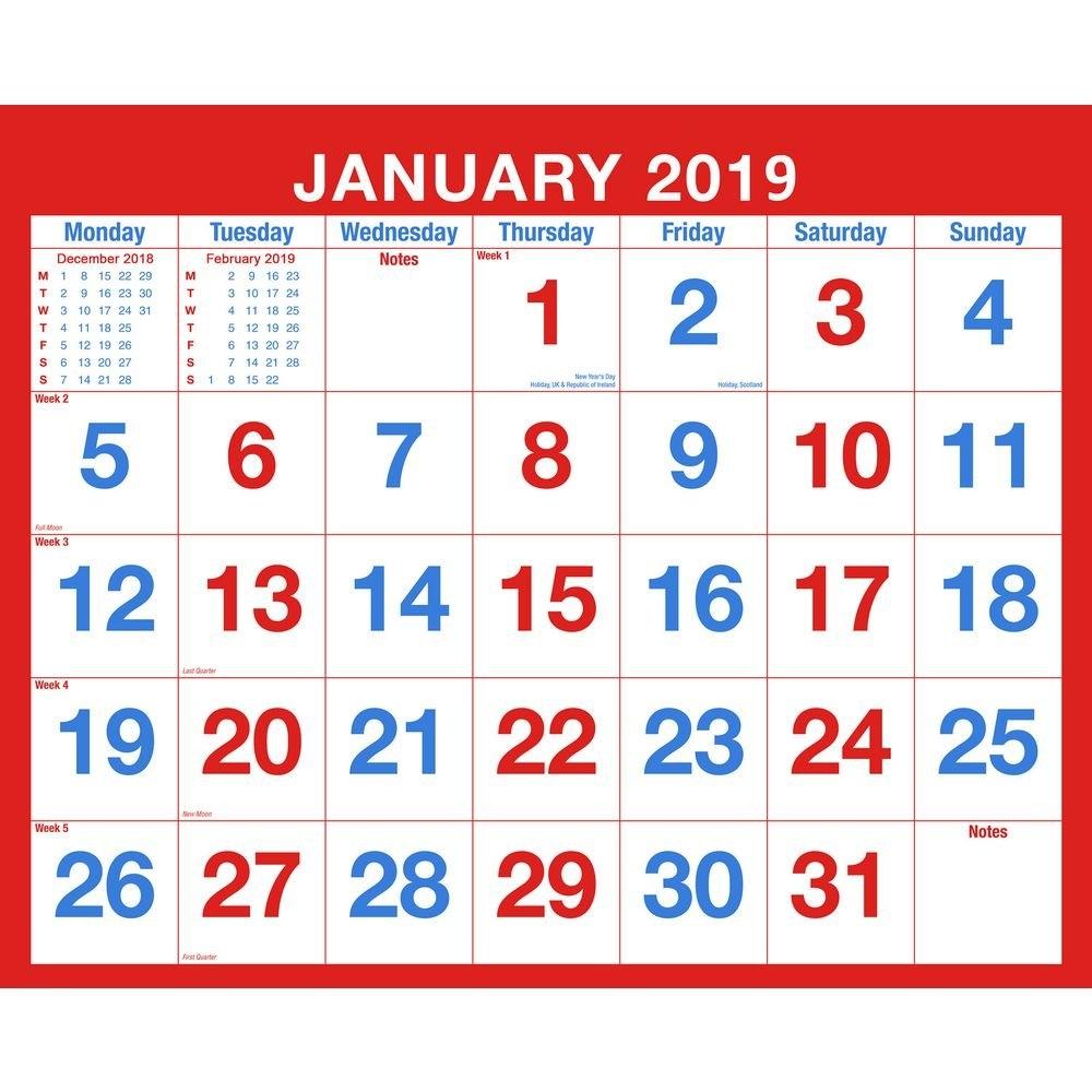2019 Monthly Wall Calendar, Spiral Bound | Staples® Calendar 2019 Staples
