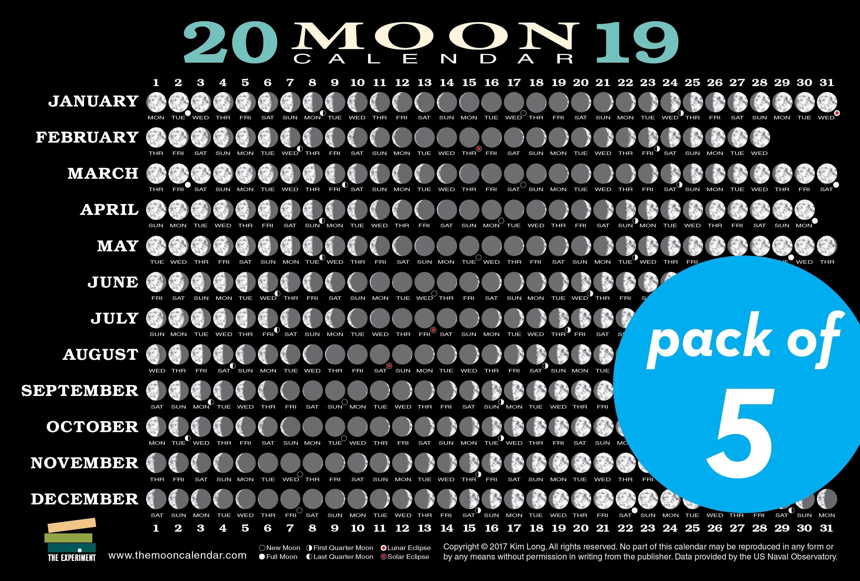 2019 Moon Calendar Card (5 Pack). Nataraj Books Calendar 2019 Moon