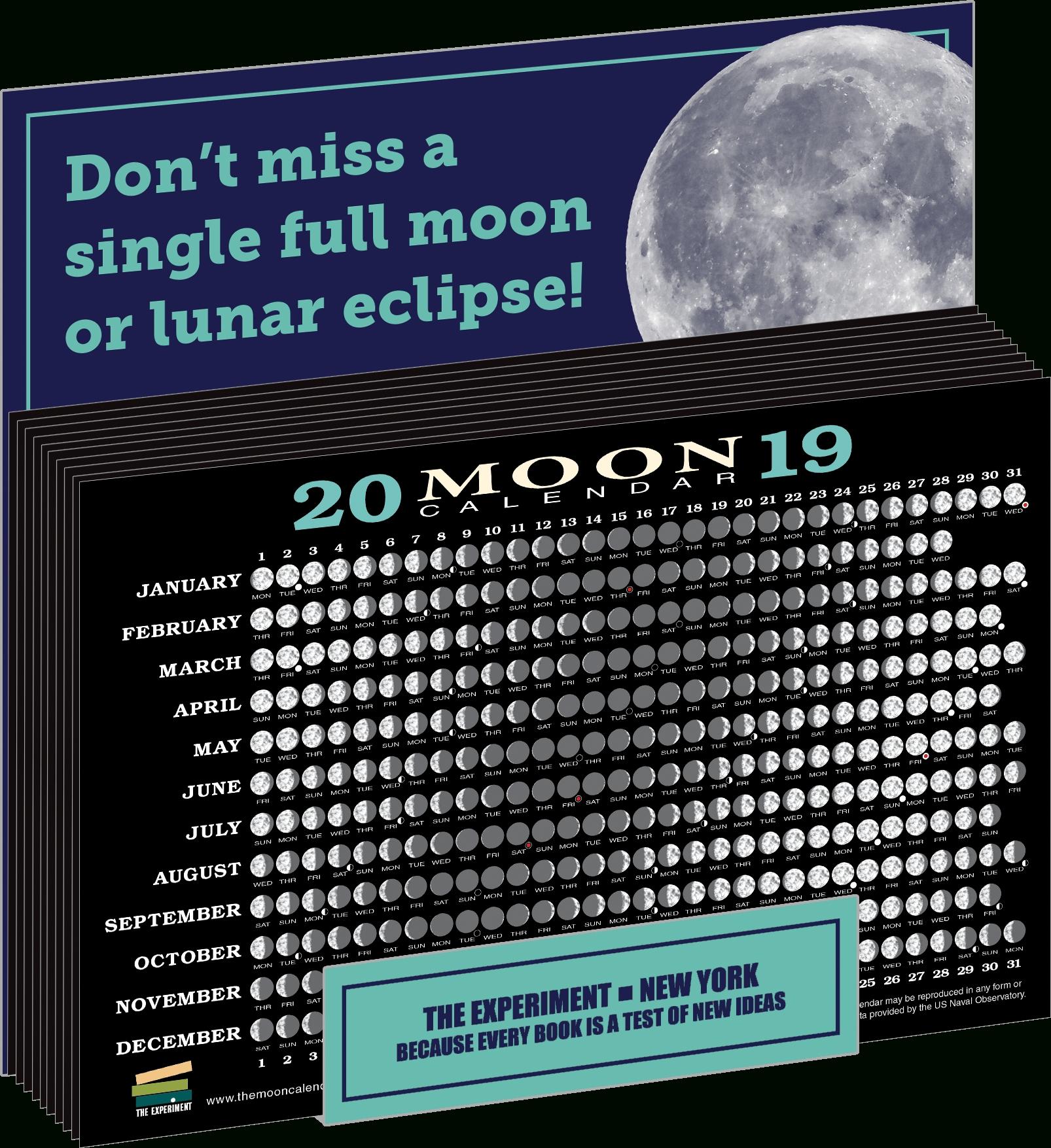 2019 Moon Calendar Card | The Experiment Calendar 2019 Moon