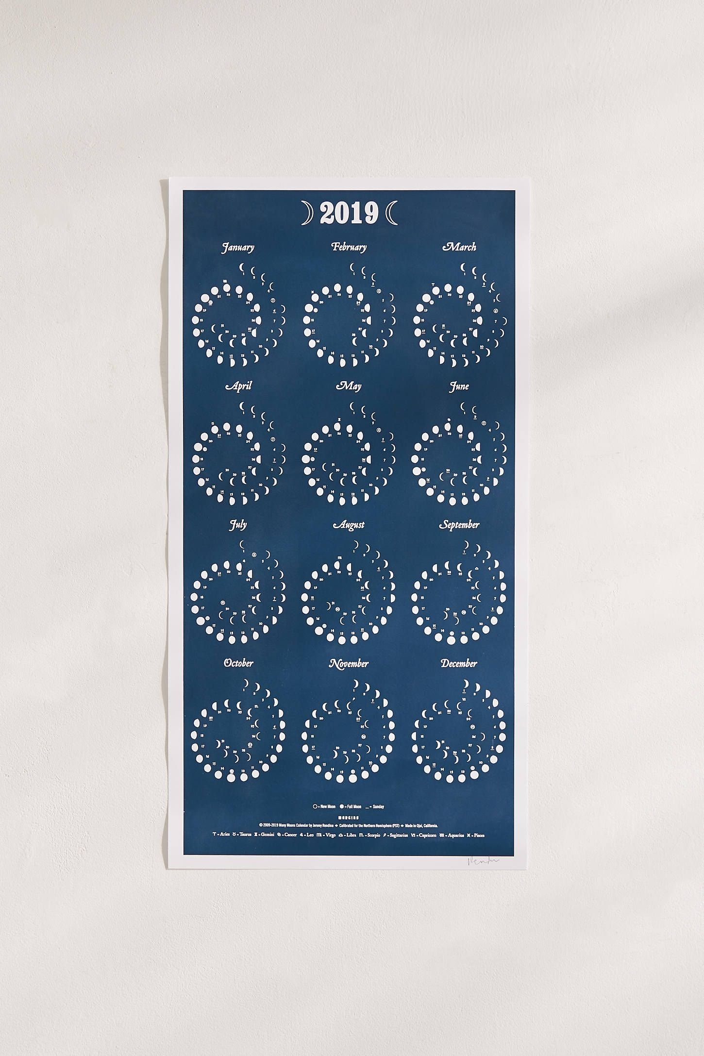 2019 Moon Phase Large 12 Month Wall Calendar | Yes Please Calendar 2019 Urban Outfitters