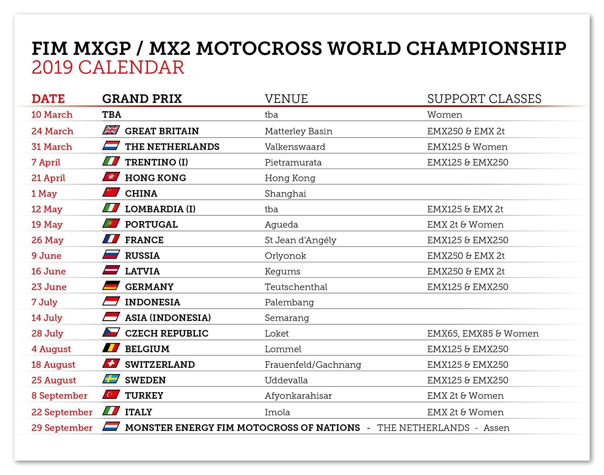 2019 Mxgp Fim Motocross World Championship Calendar | Mxgp Calendar 1/2019