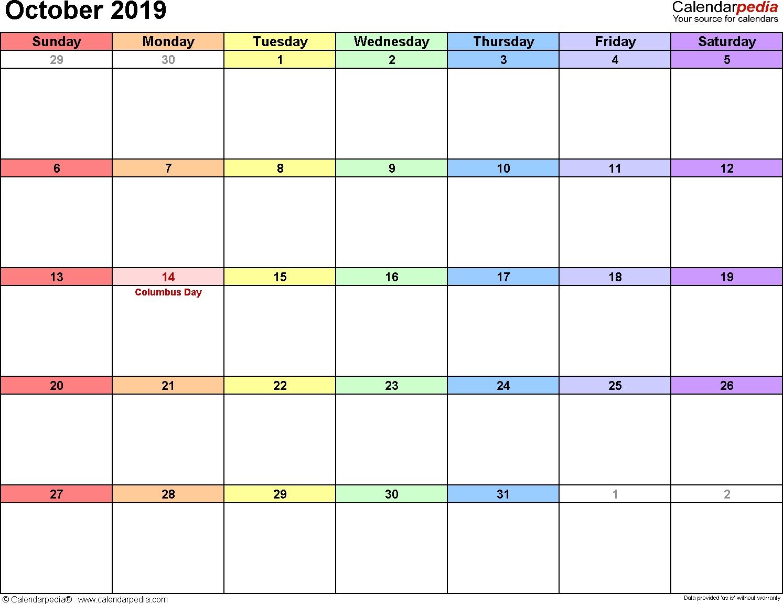 2019 October Calendar | Free October 2019 Calendar Printable Calendar 2019 October