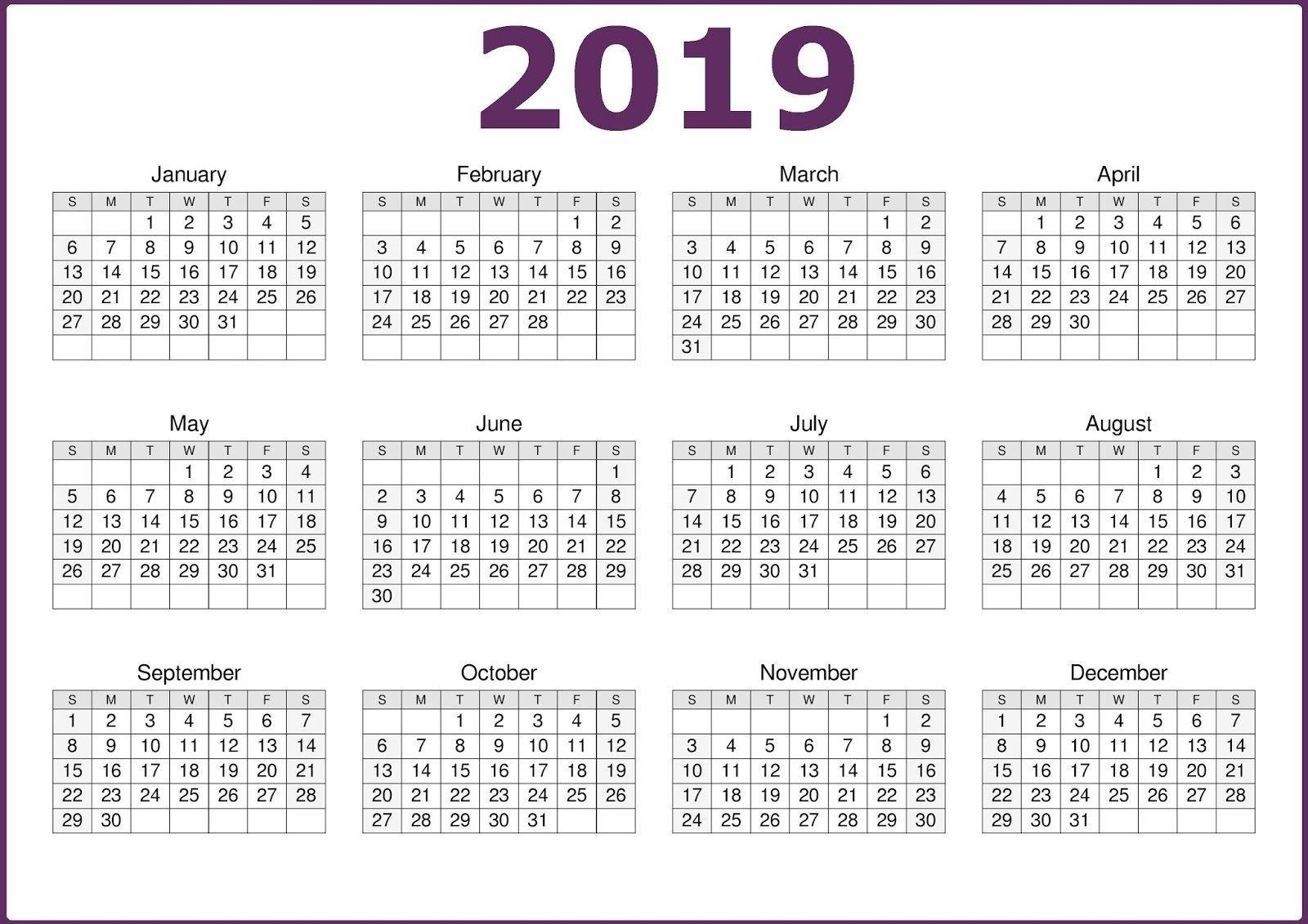 2019 One Page 12 Months Calendar   2019 Calendars   Pinterest Calendar 2019 12 Months