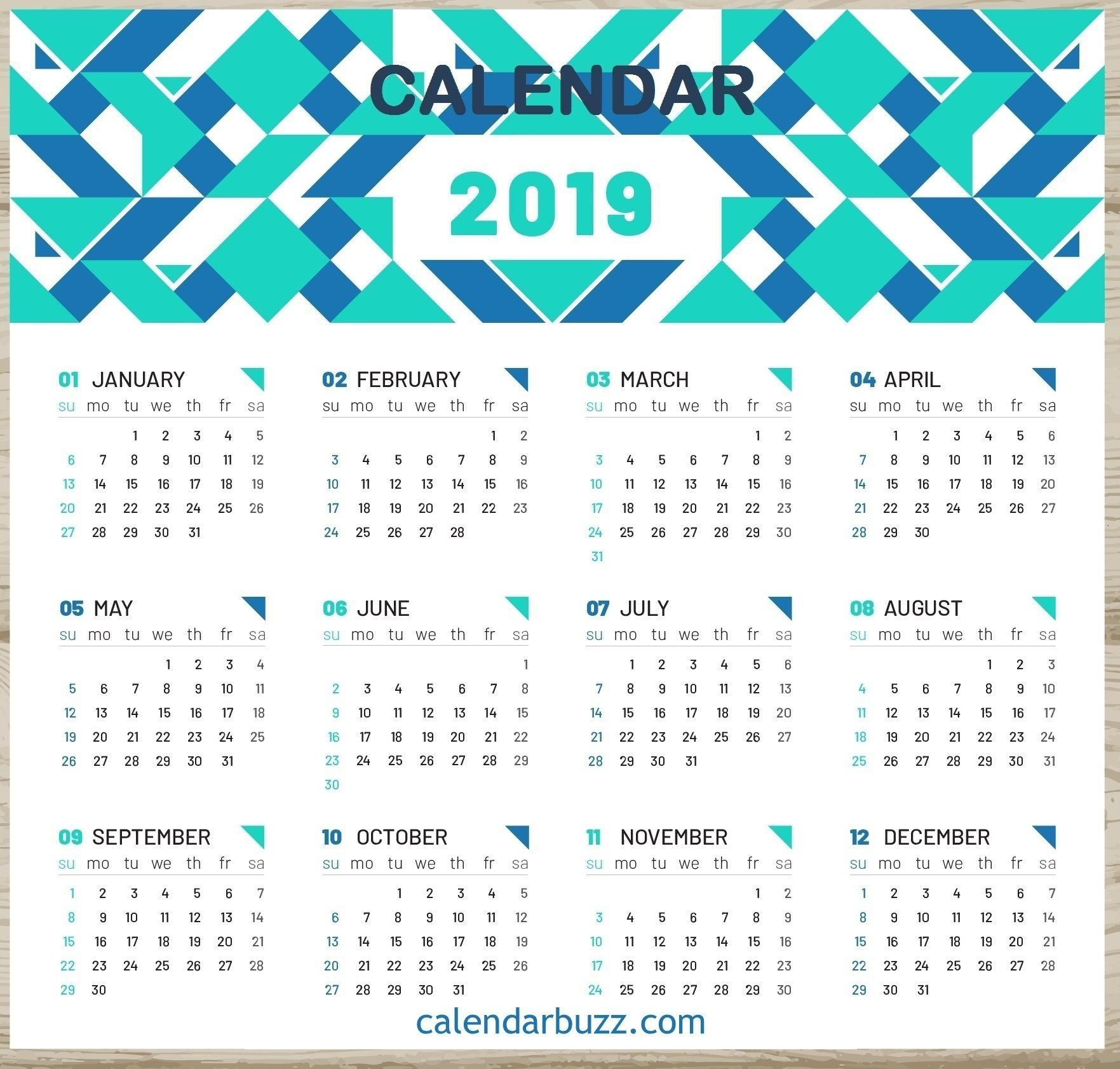 2019 One Page Desk Calendar   2019 Calendars   Calendar, 2019 Discover 5 Calendar 2019