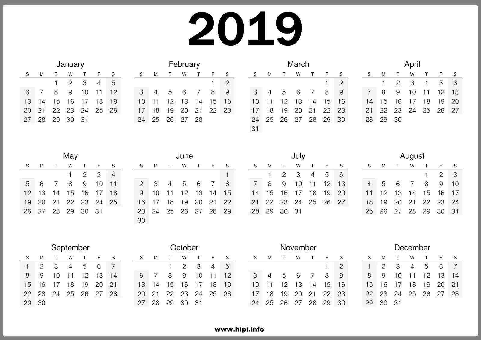 2019 One Page Printable Calendar Free 2019 E Page Calendar Templates Calendar 2019 Single Page