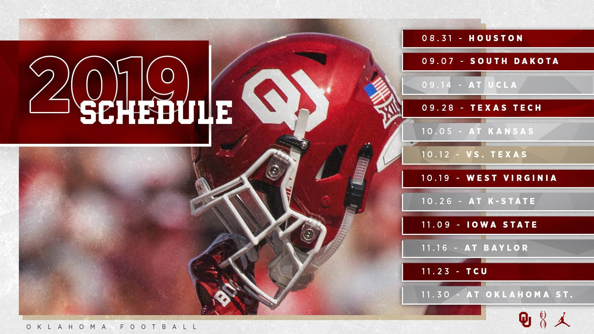 2019 Ou Football Schedule Announced – The Official Site Of Oklahoma U Of H Calendar 2019