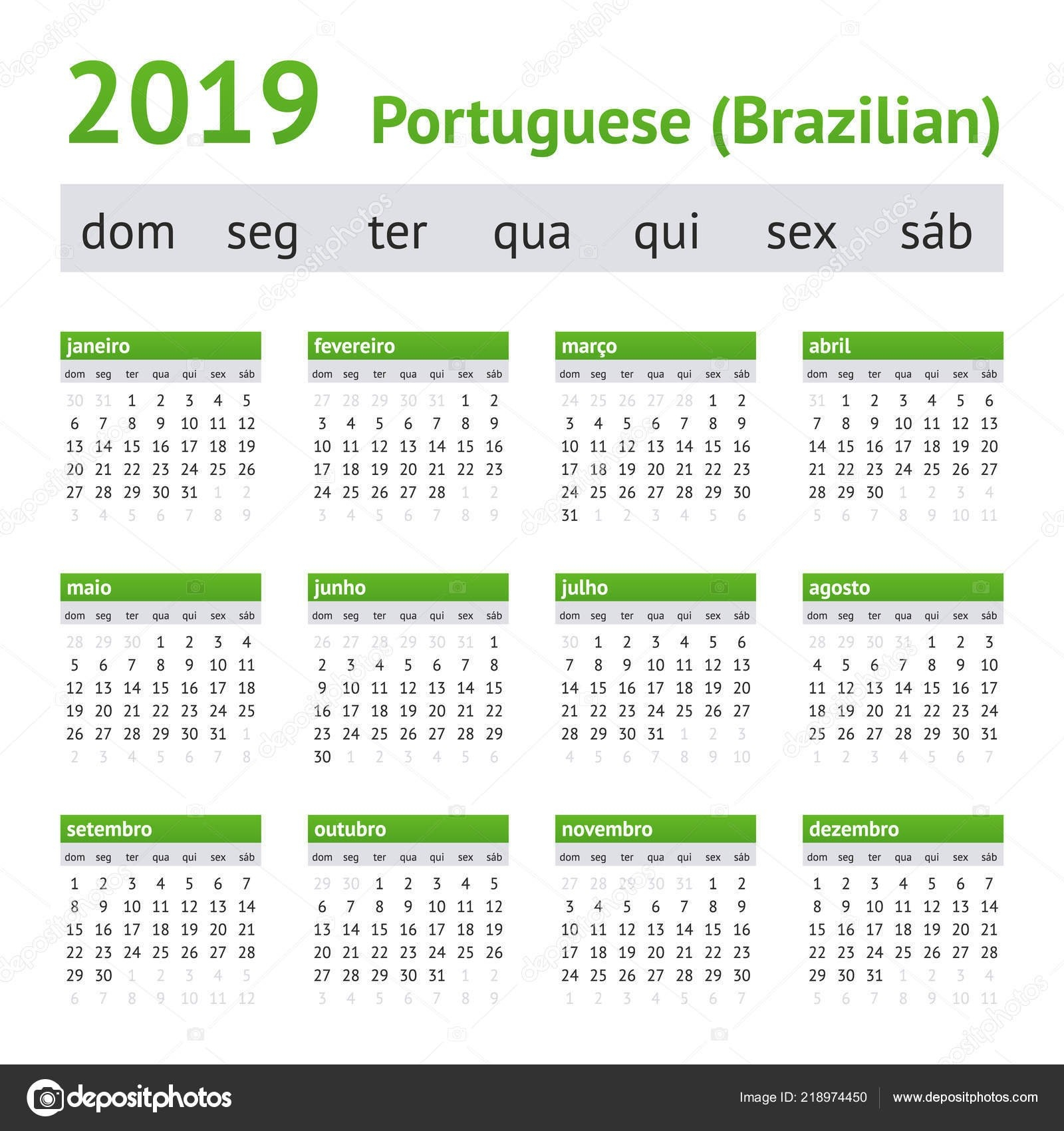 2019 Portuguese American Calendar — Stock Vector © New Year #218974450 Calendar 2019 America
