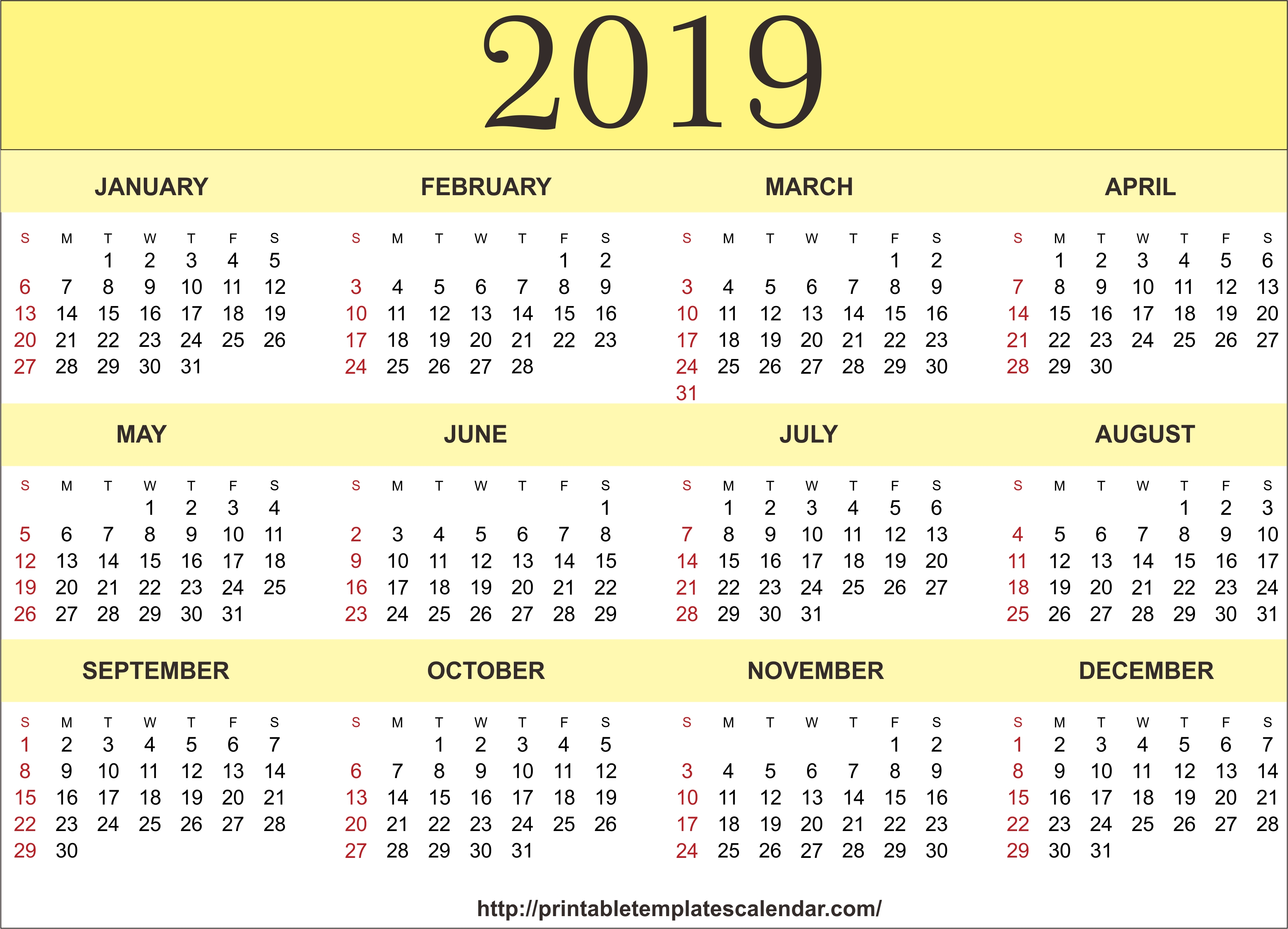 2019 Printable 12 Month One Page Calendar Template Pdf Word Notes Calendar 1/2019