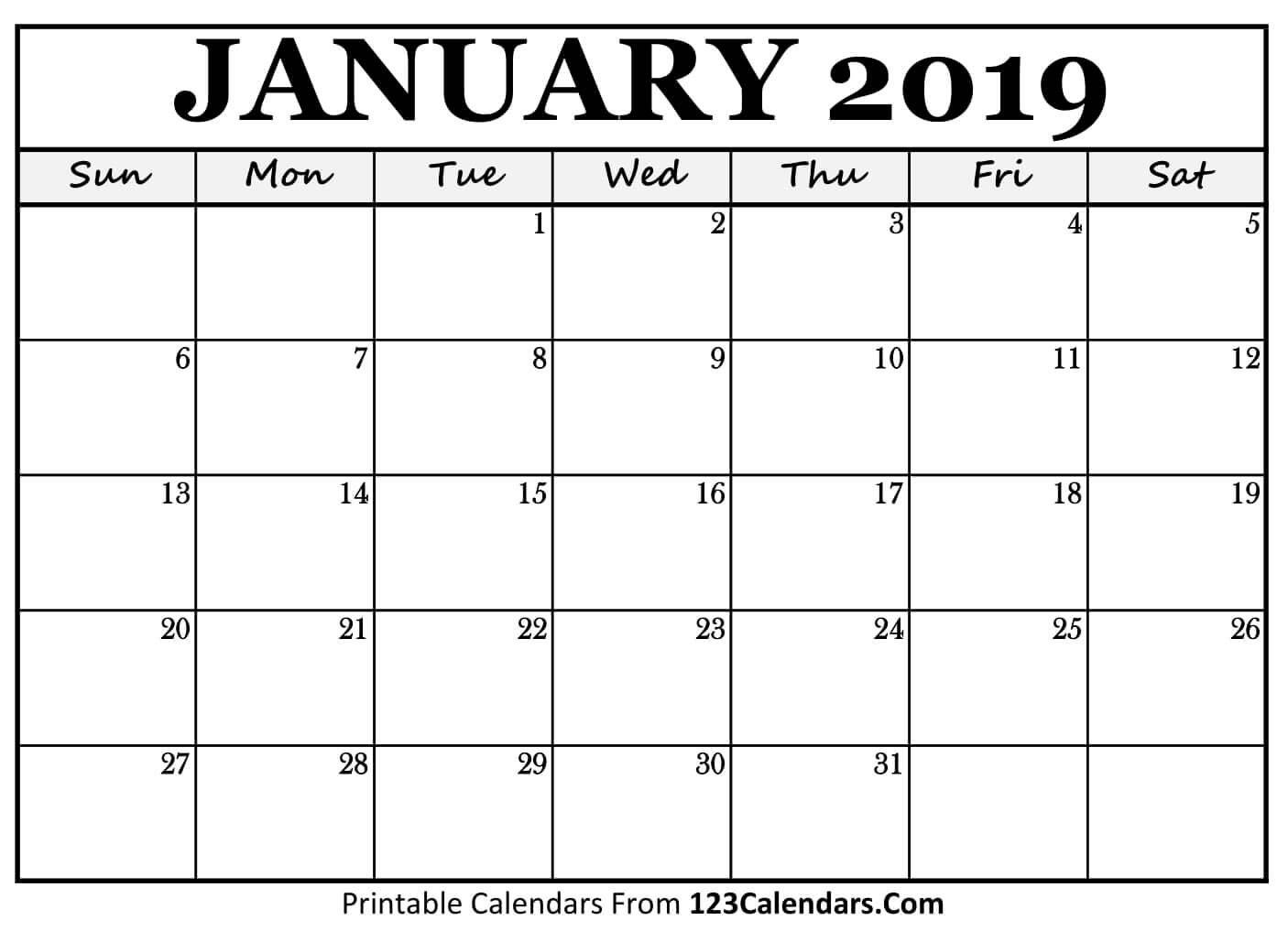 2019 Printable Calendar – 123Calendars 2019 Calendars